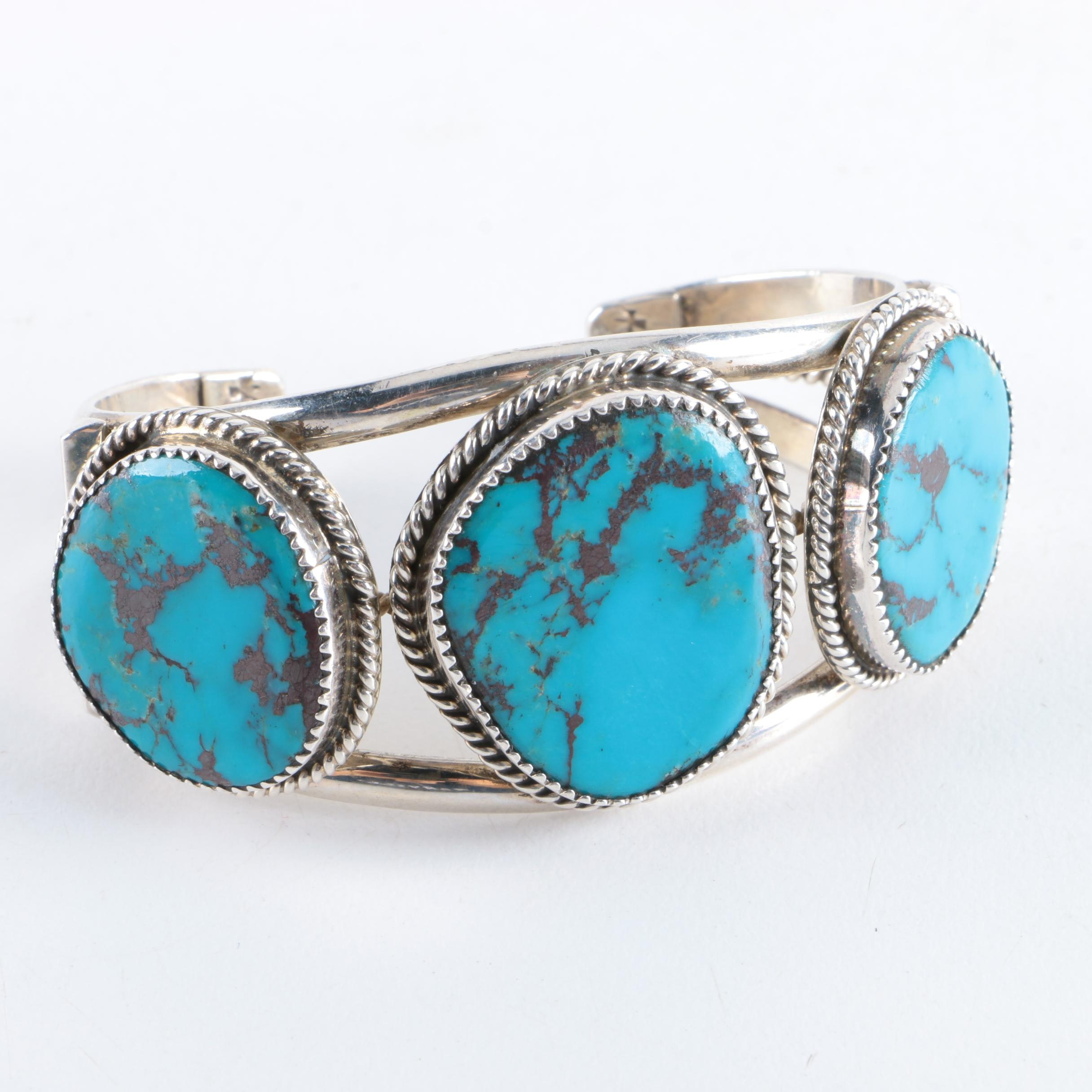 Southwest Signed Sterling Silver and Turquoise Cuff Bracelet