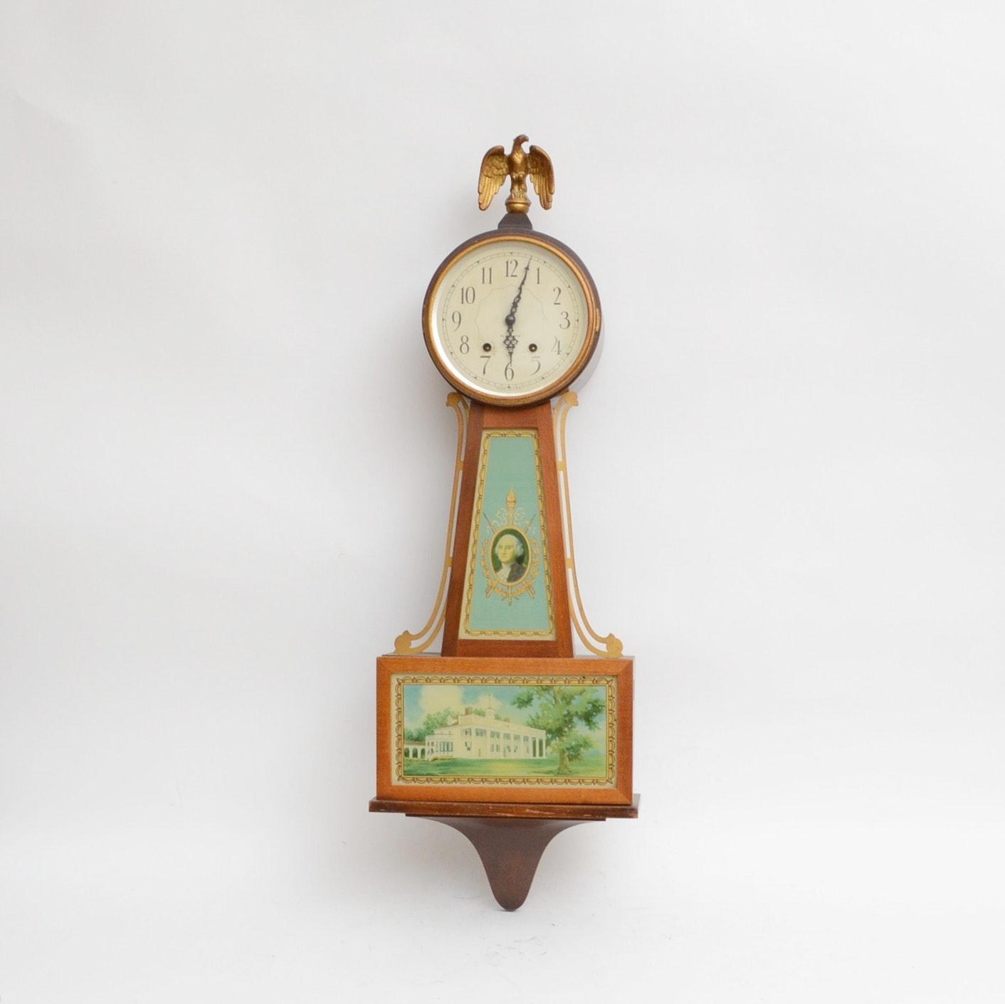 Plymouth Banjo George Washington Wall Clock