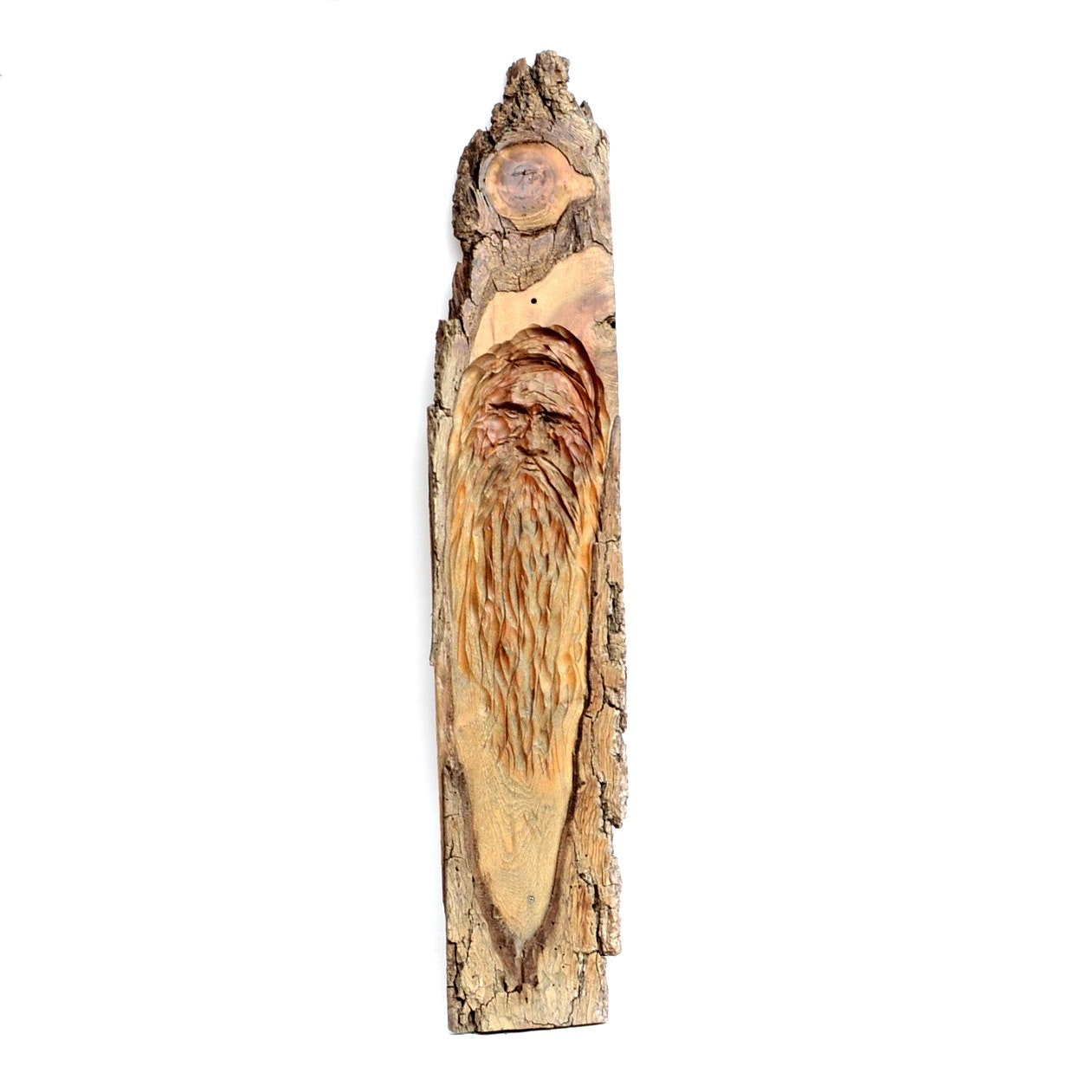 Carved Mountain Man on Rough Sawn Plank