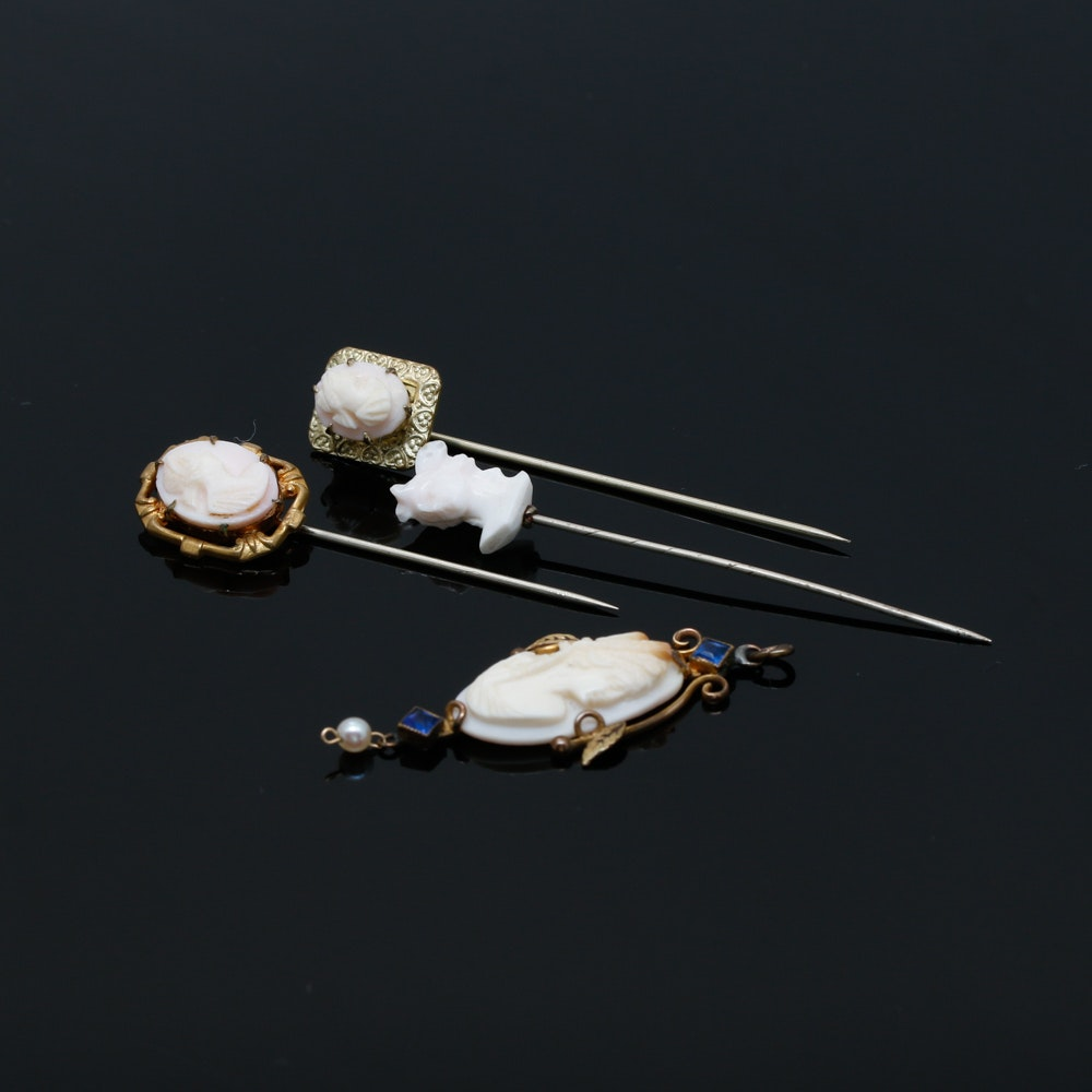 Assortment of Conch Shell Cameo Stick Pins and Art Nouveau Lavalier Pendant