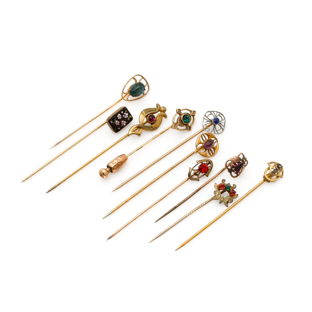 Assortment of Stick Pins Including Art Nouveau Transitional and Art Deco Styles