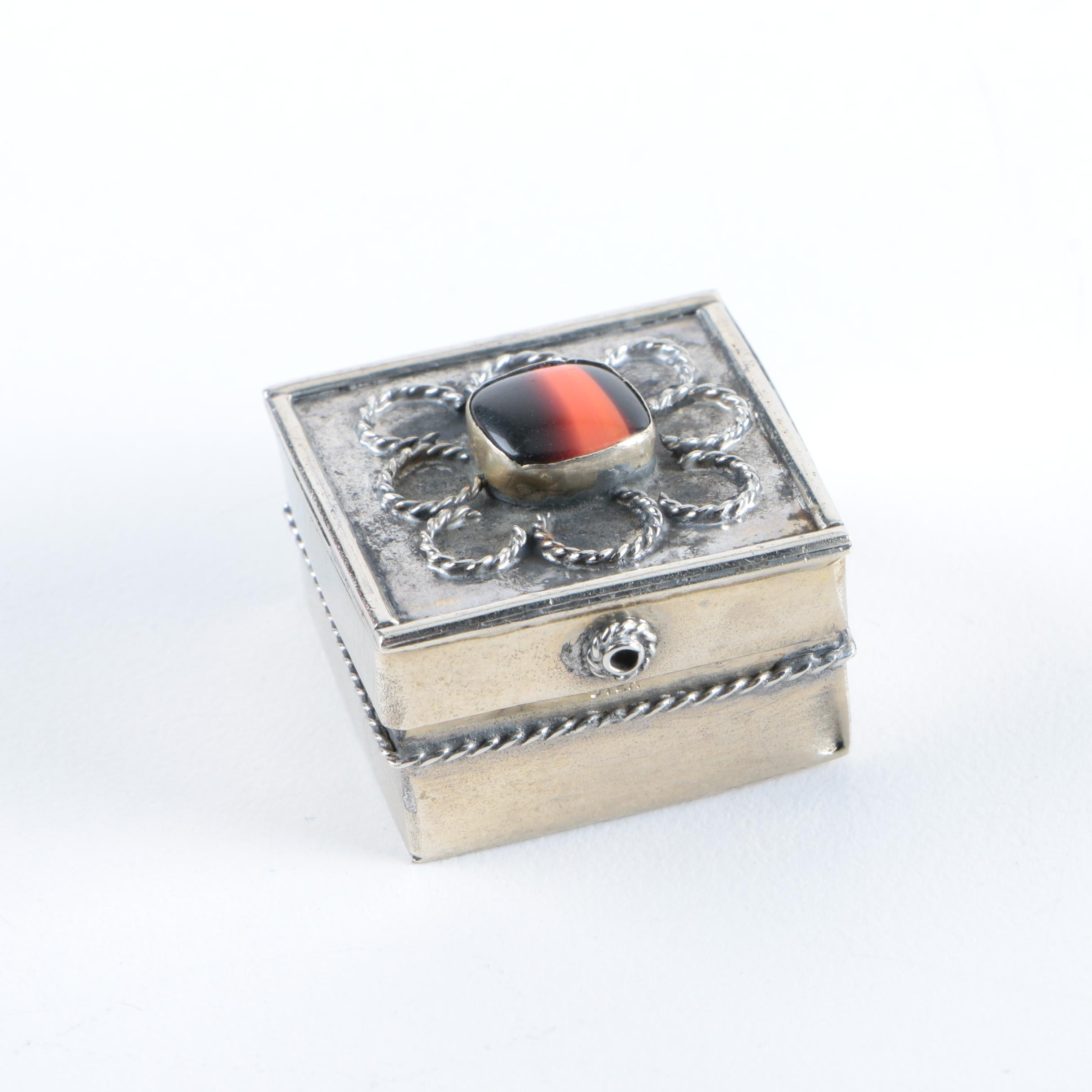 Sterling Silver Pillbox with Orange and Black Cabochon