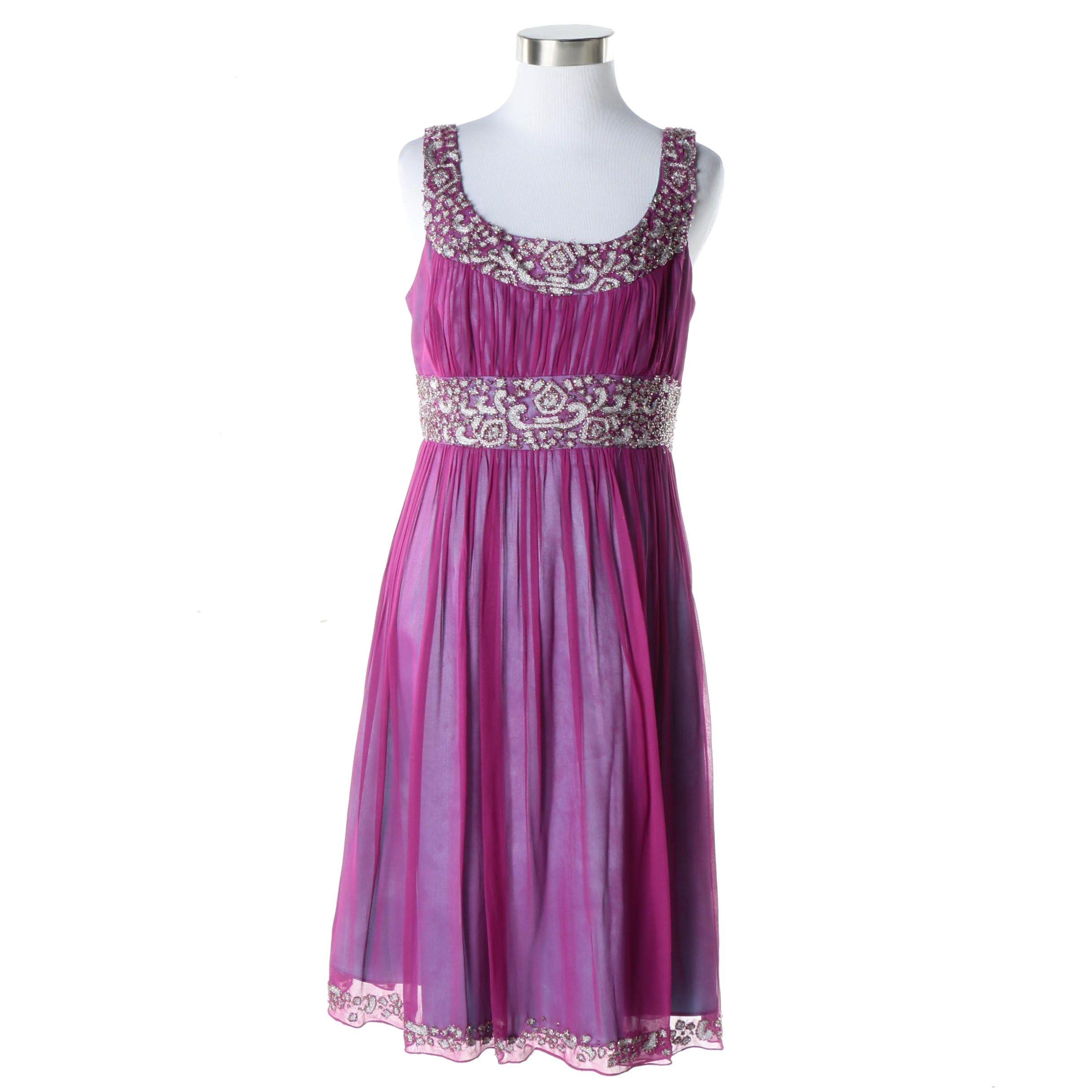 Adrianna Papell Evening Silk Cocktail Dress