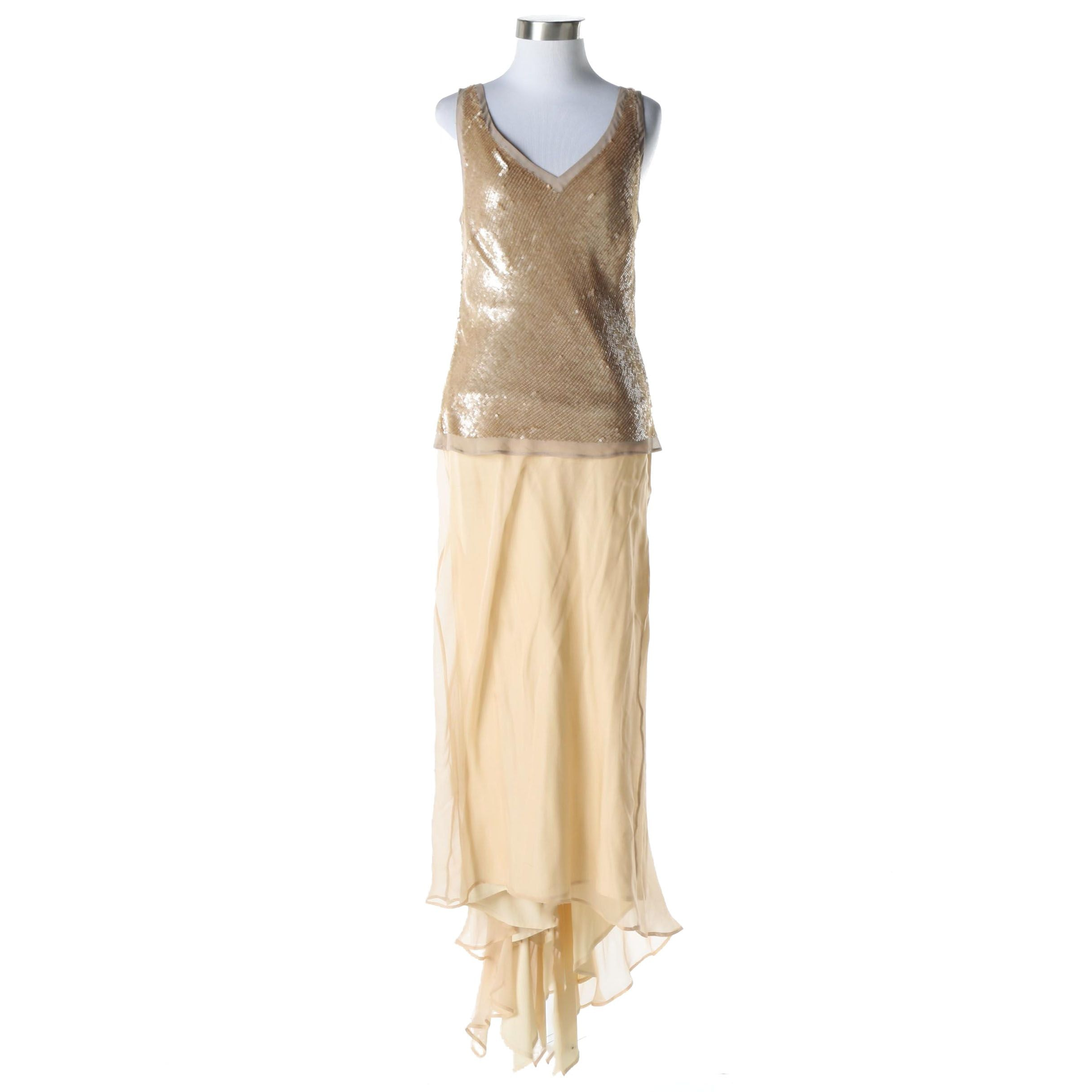 Adrianna Papell Evening Essentials Silk Sequin Top and Silk Skirt