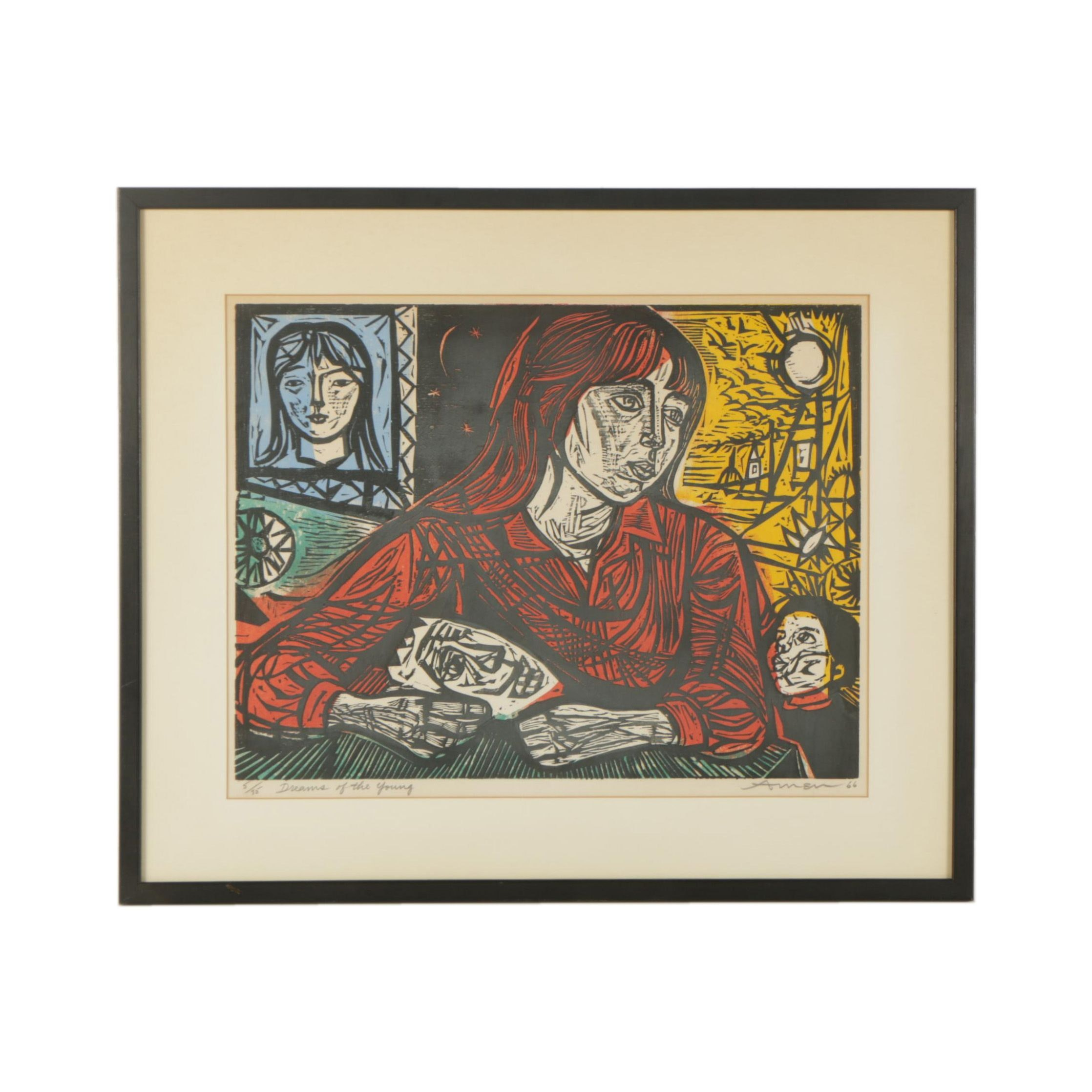 "Irving Amen Woodcut Print ""Dreams of the Young"""