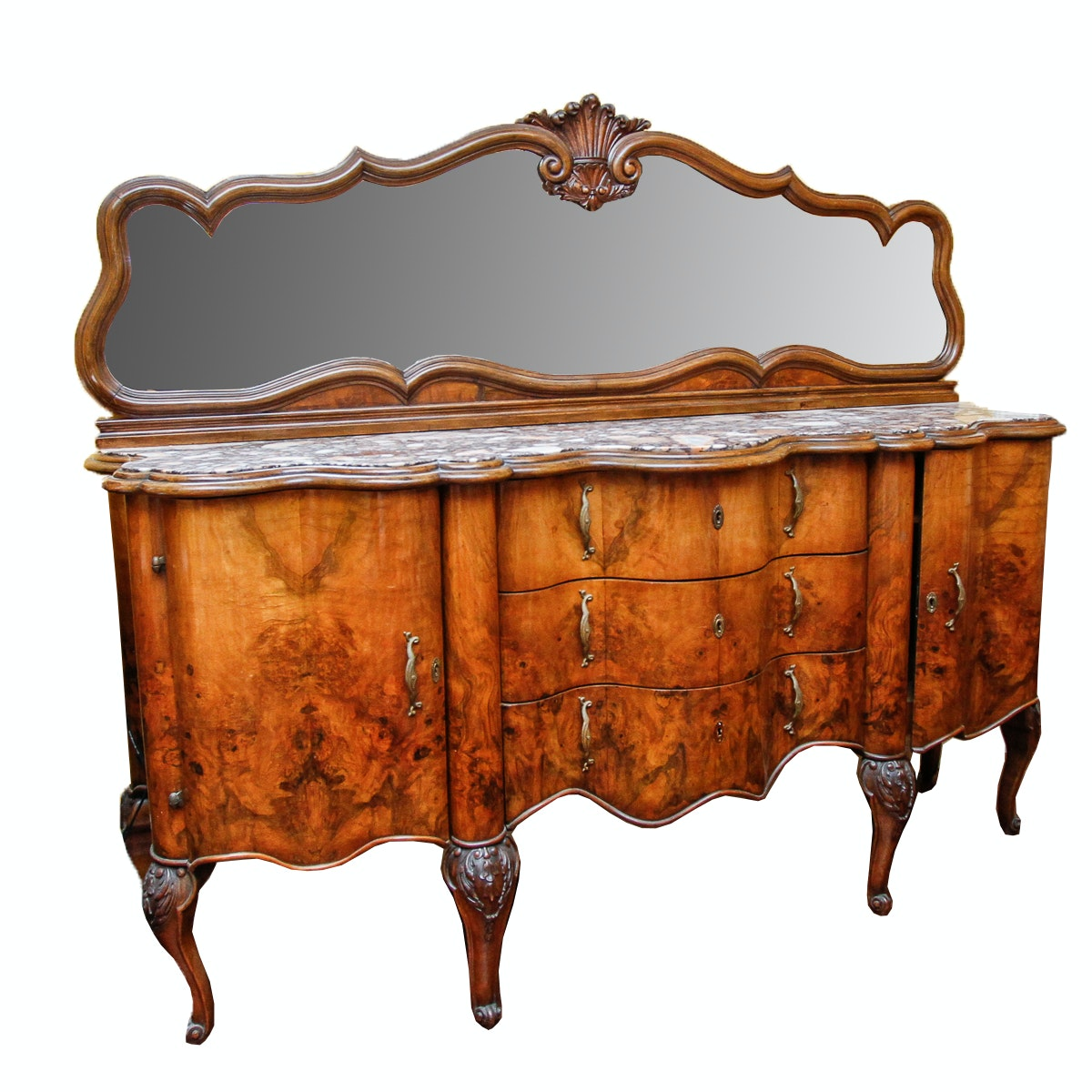 Antique Continental Baroque Style Marble Top Sideboard