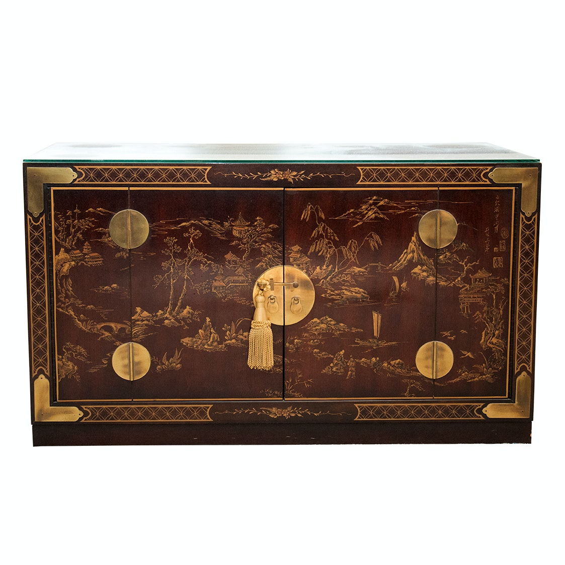 Drexel Chinoiserie Brass and Wood Sideboard