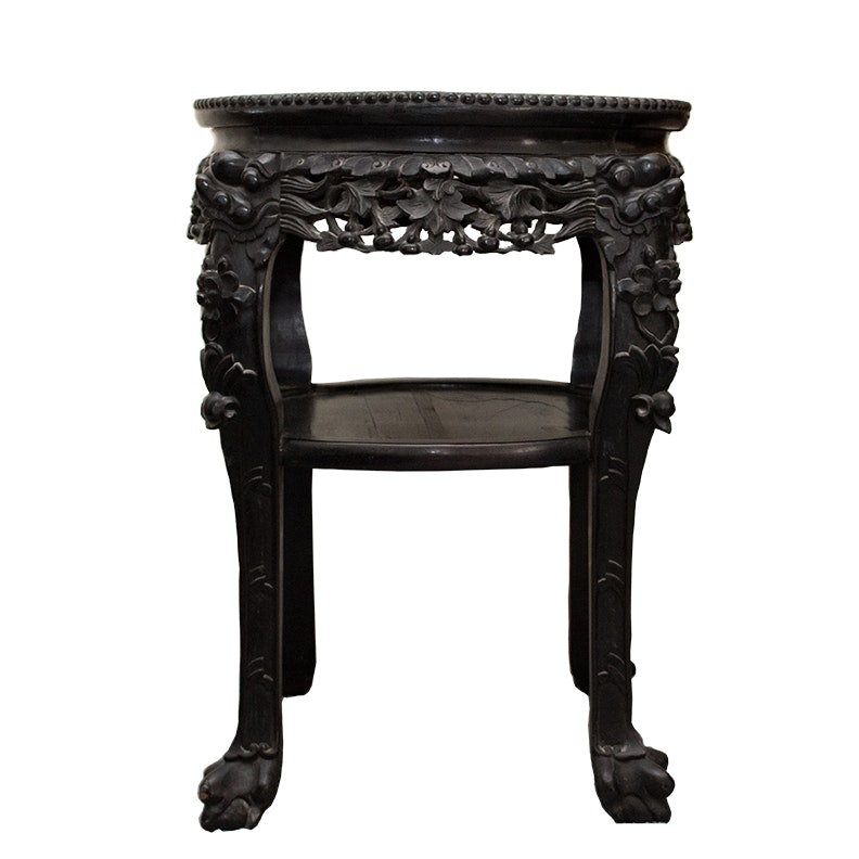 Early 20th Century Chinese Carved Rosewood and Marble Table