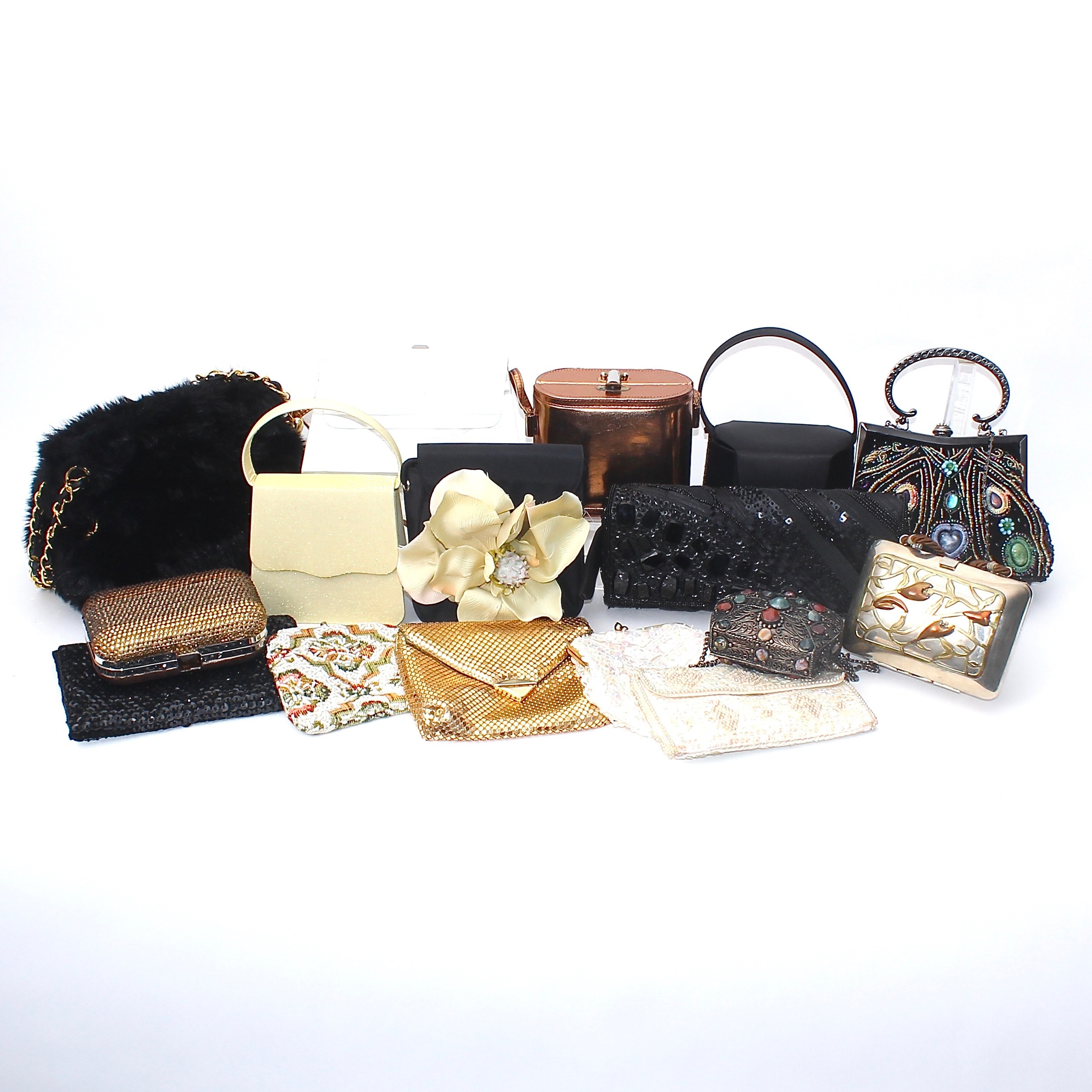 Collection of Evening Occasion Purses Including Silver Brass and Copper