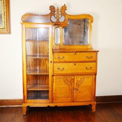 Antique Oak Display Cabinet