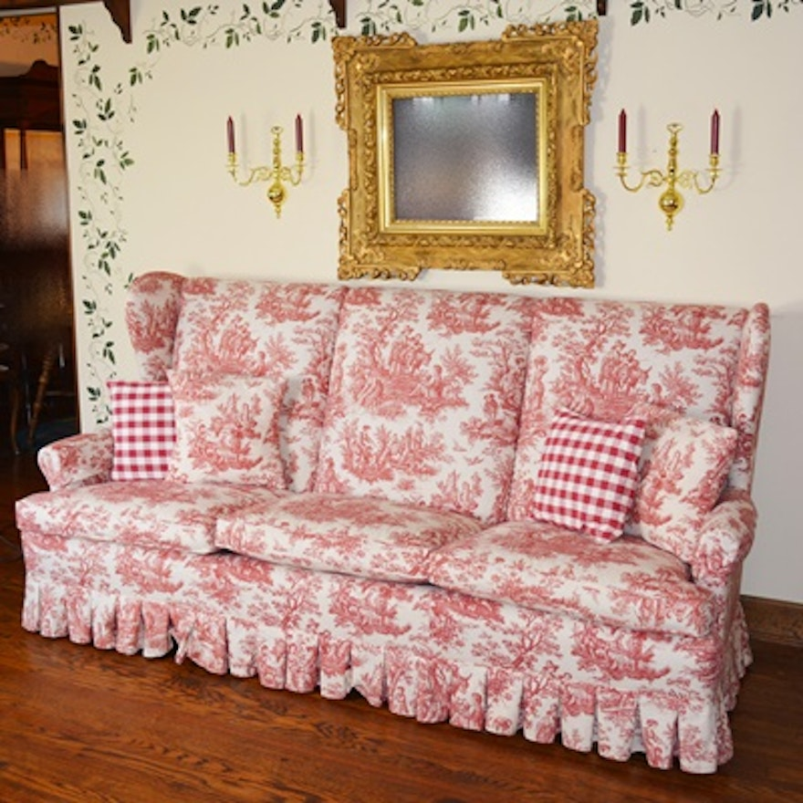 Red and Cream Toile Wingback Sofa : EBTH