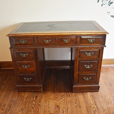 Antique Knee Hole Oak Desk