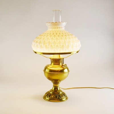 Bradley & Hubbard Co. Brass Converted Oil Table Lamp