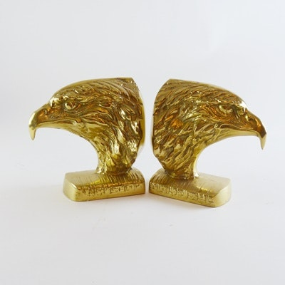 Eagle Head Brass Bookends