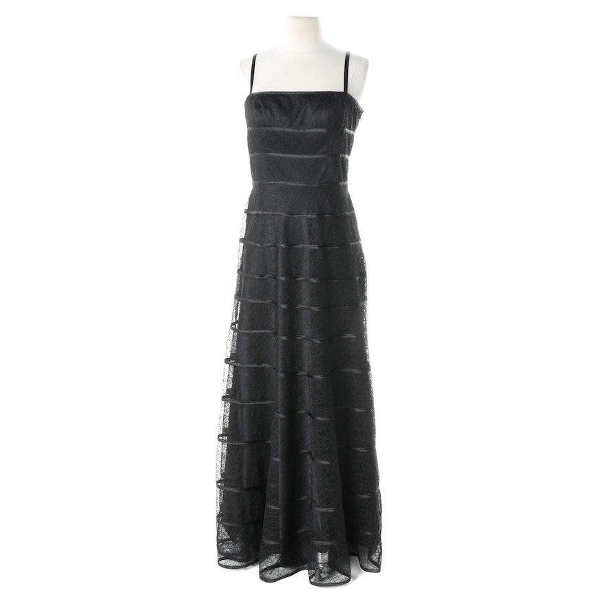 JS Collections Black Lace Overlay Sleeveless Gown : EBTH