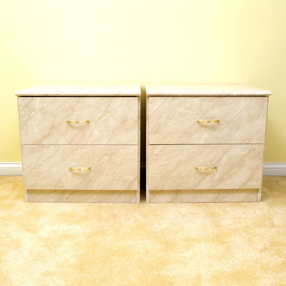 Pair of Vintage Marble Laminate Nightstand
