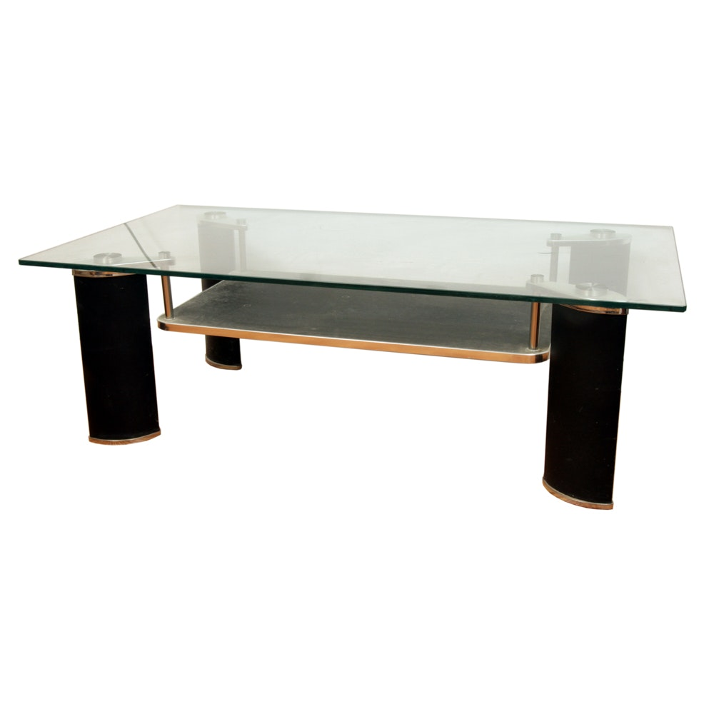 Contemporary Glass Top Entertainment Table