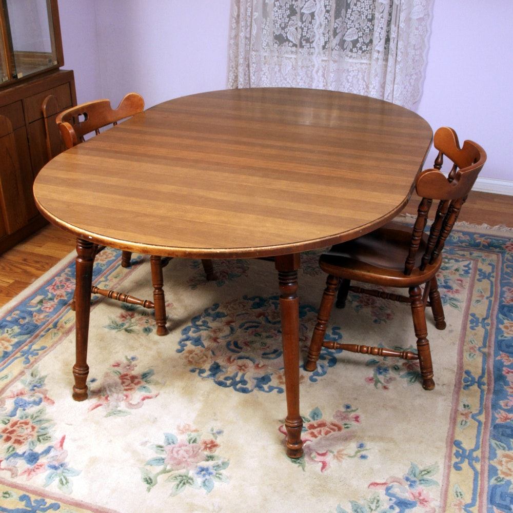 Vintage Dining Room Table with Extension and Two Chairs