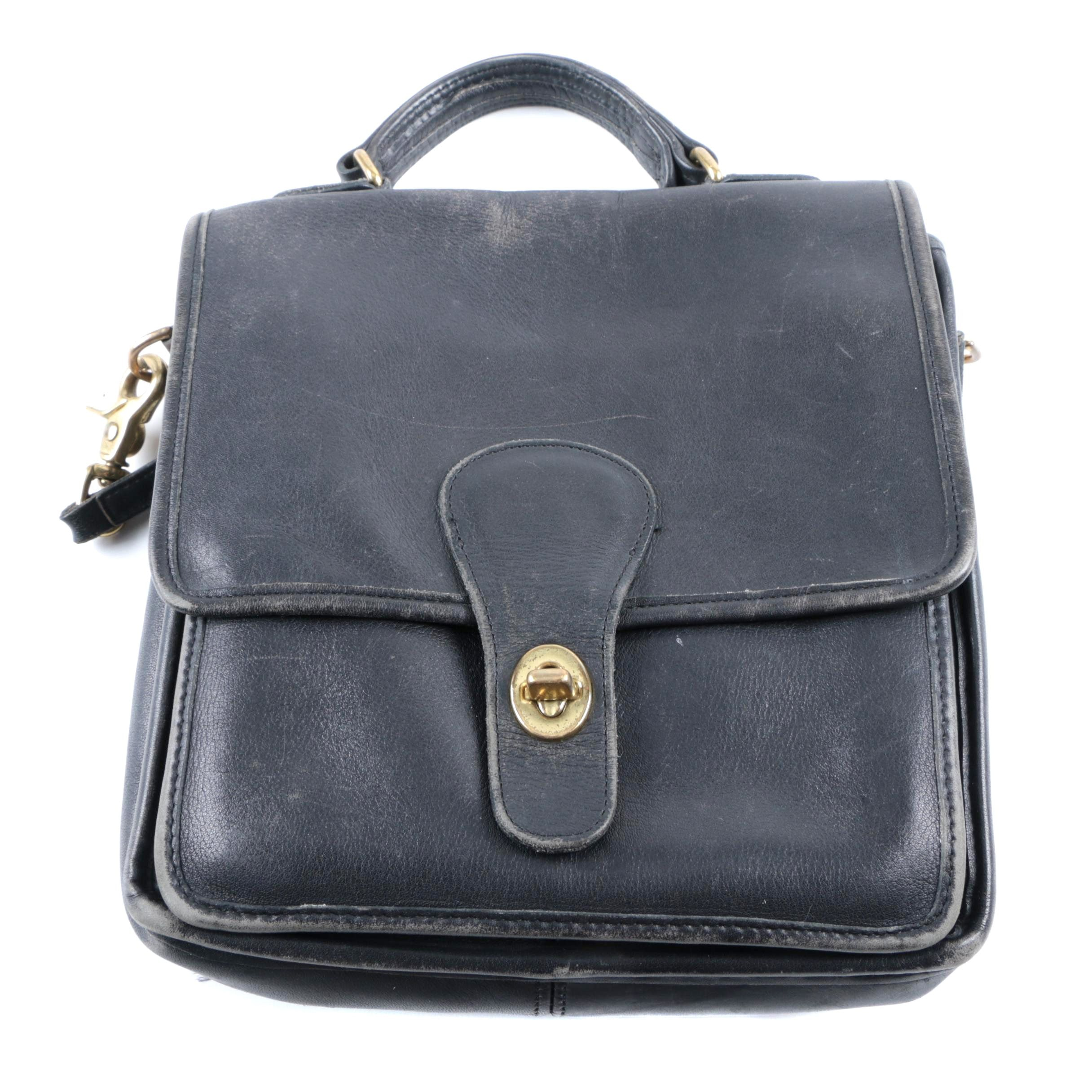 Vintage Coach Black Leather Handbag