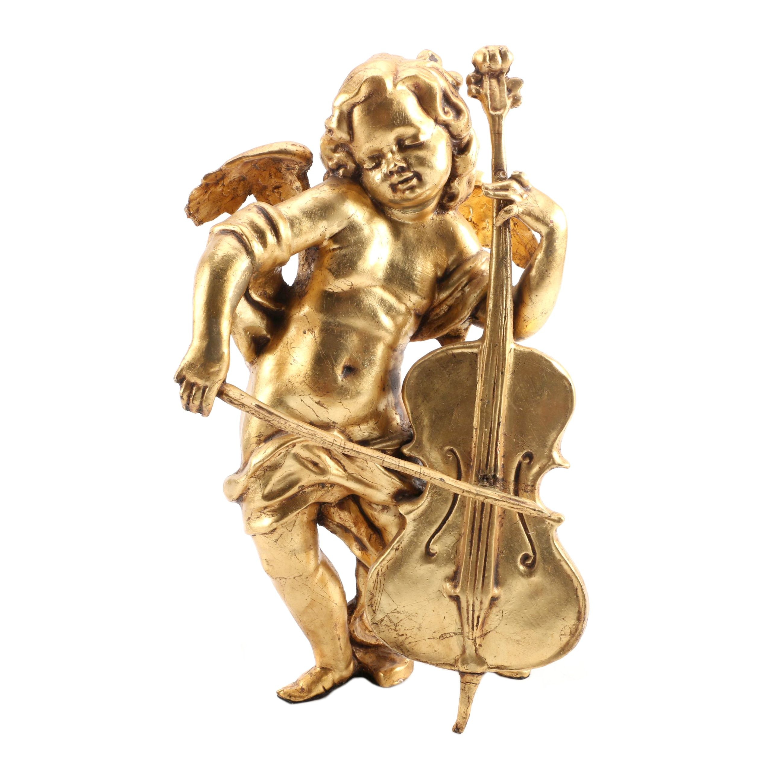 Gold-Tone Figurine of Cupid Playing an Instrument