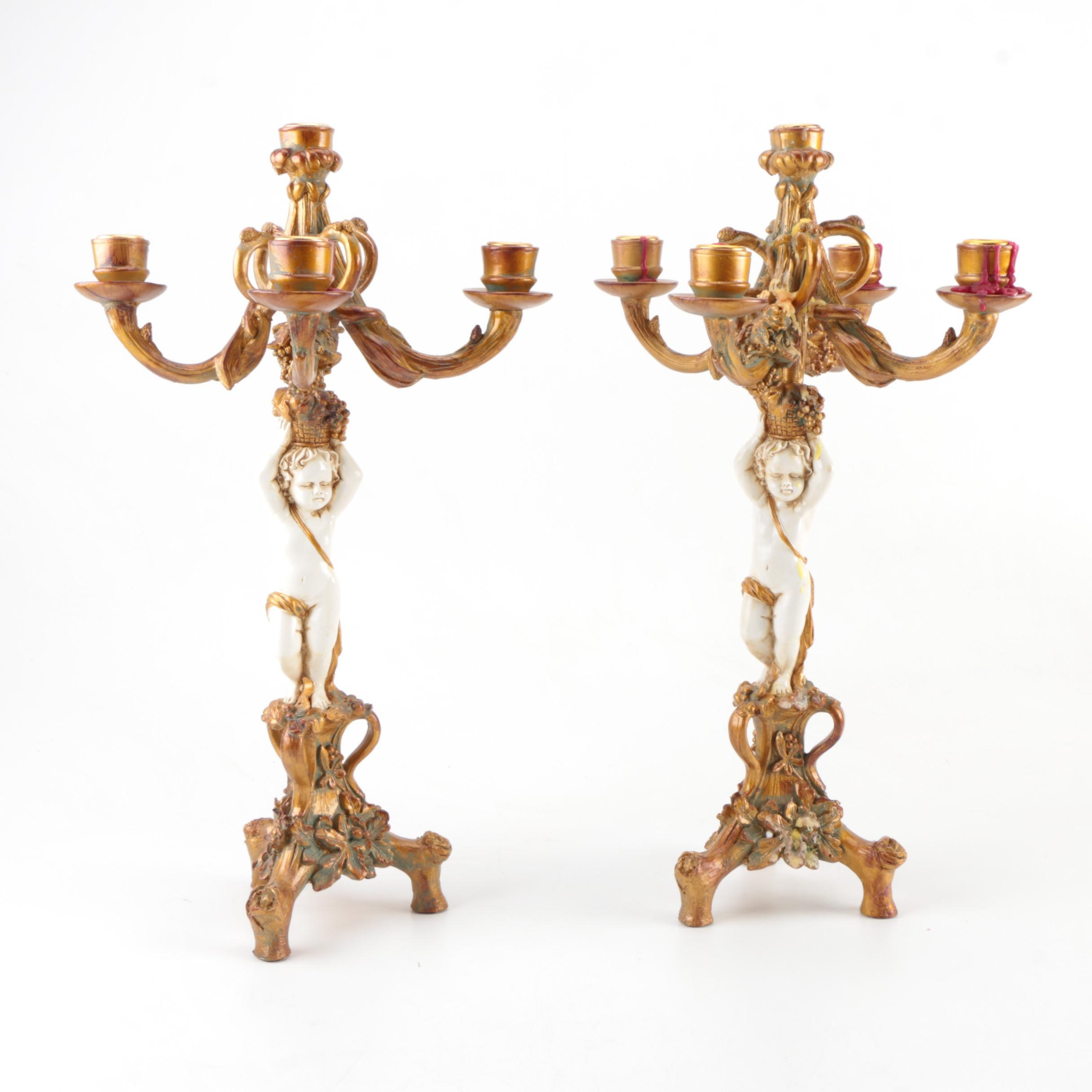 French Rococo Inspired Cherub Candelabras