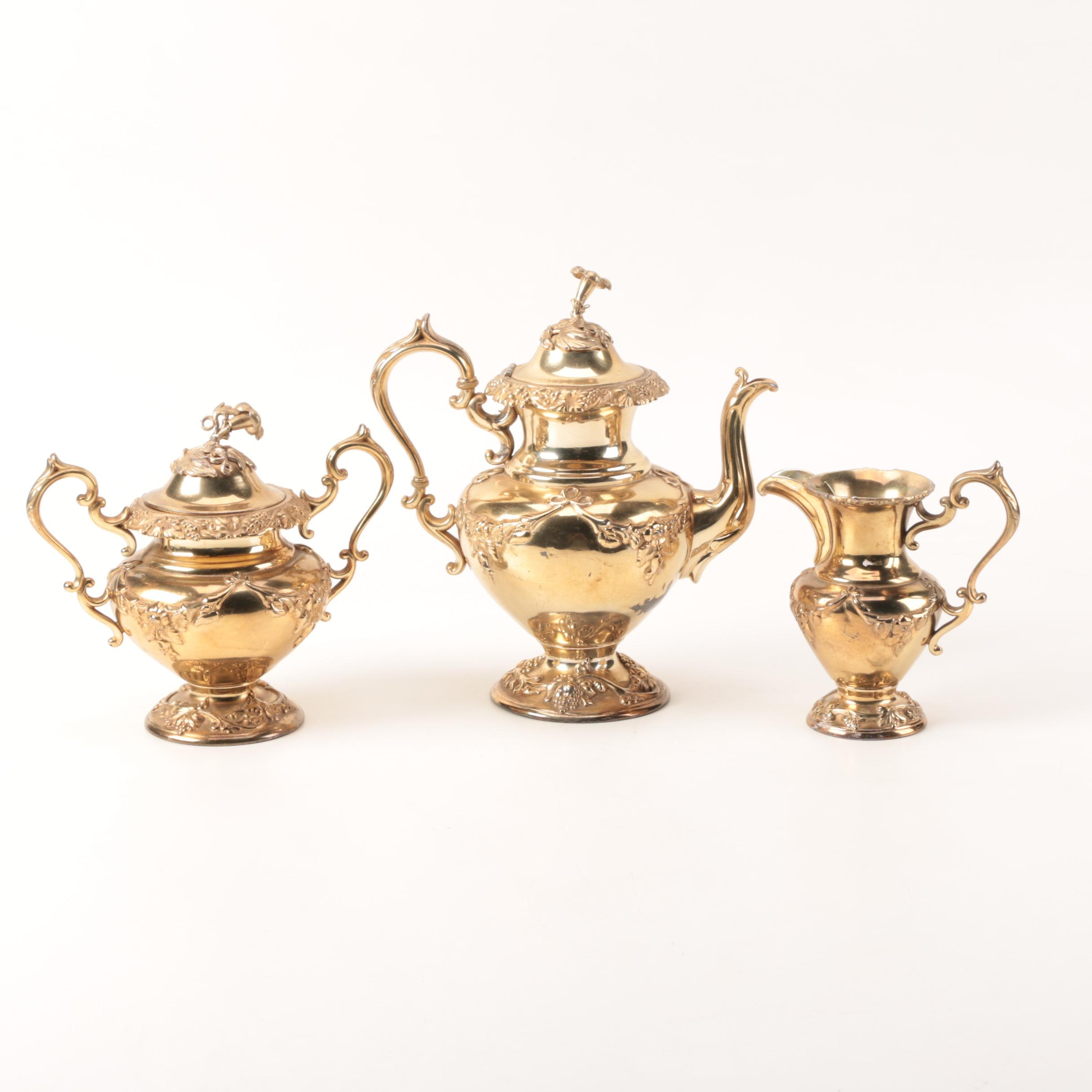 Gold Washed Silver Plate Embossed Grape Vine Coffee Service