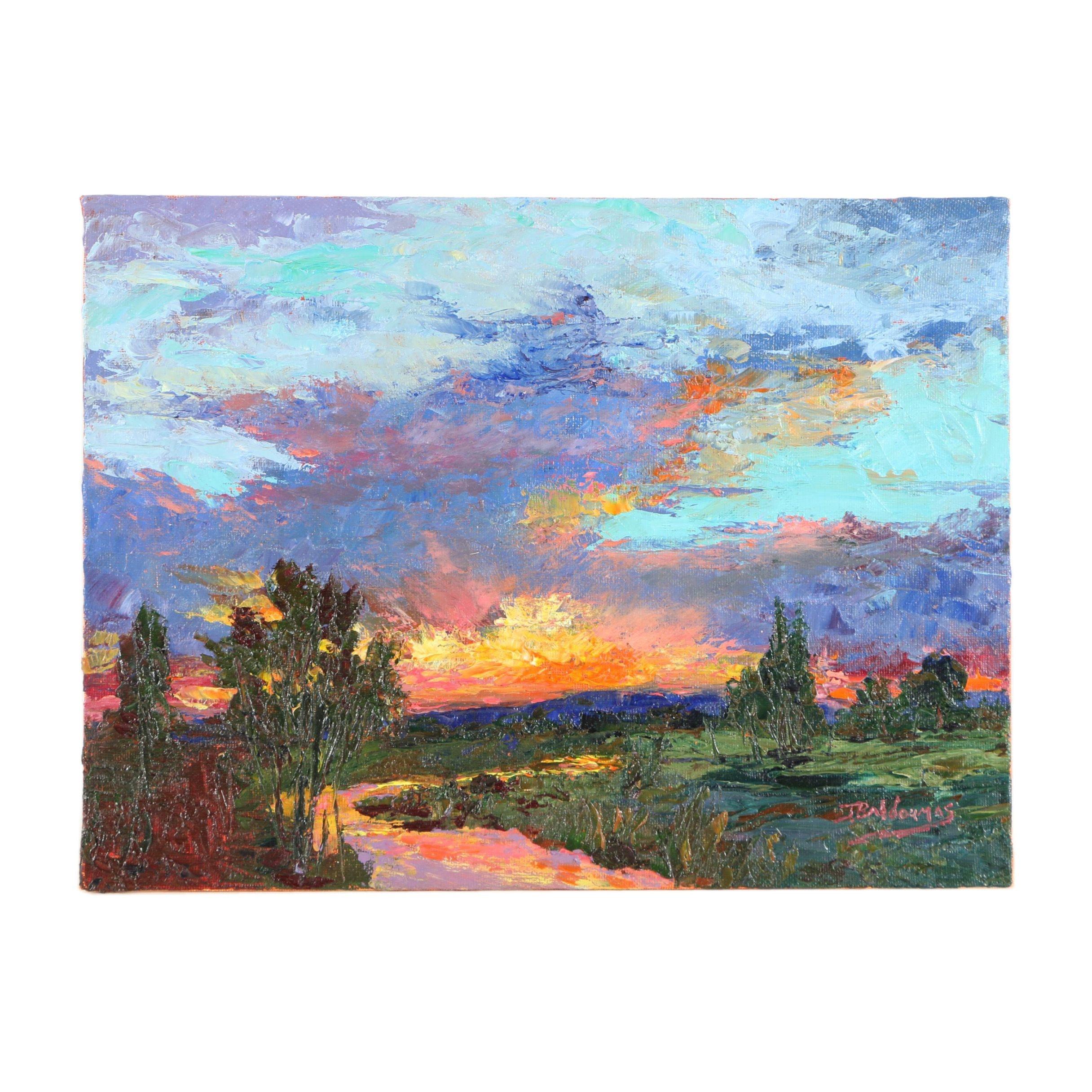 """James Baldoumas Oil Painting """"Desert Sunset"""""""