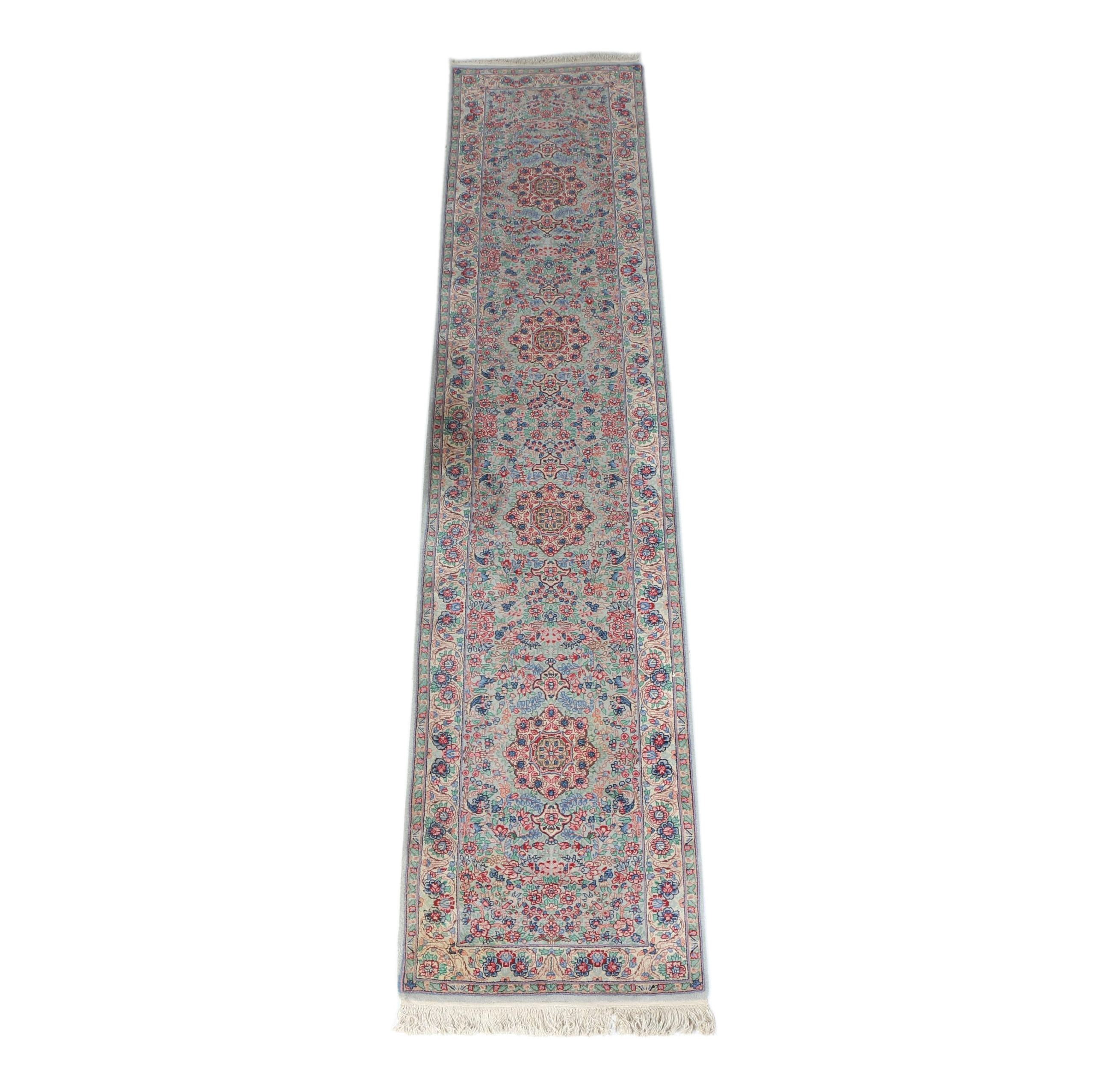 Finely Hand-Knotted Kerman-Style Wool Carpet Runner