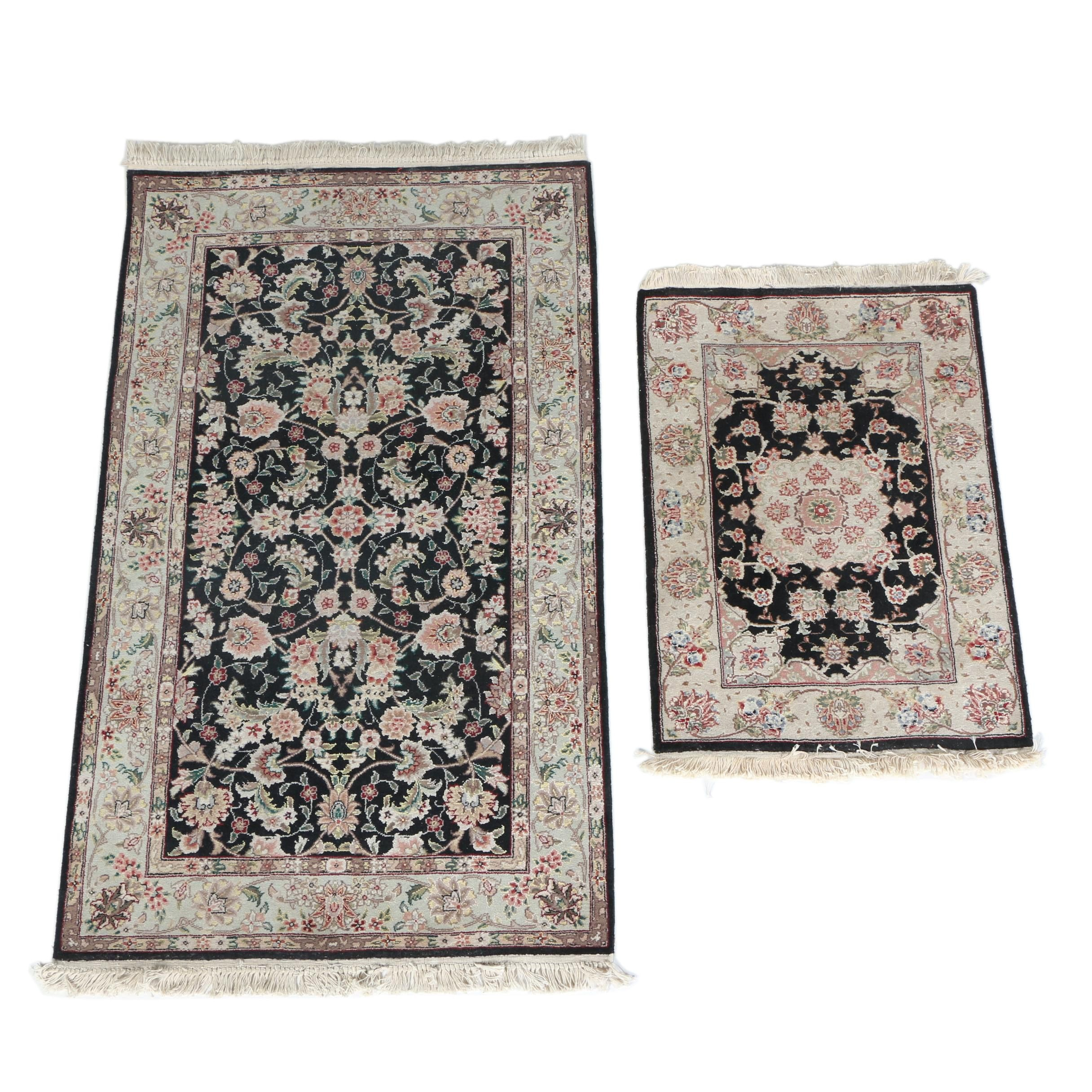 Finely Hand-Knotted Sino-Persian Wool and Silk Accent Rugs