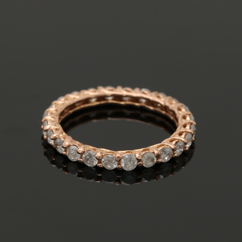 14K Rose Gold Diamond Eternity Ring