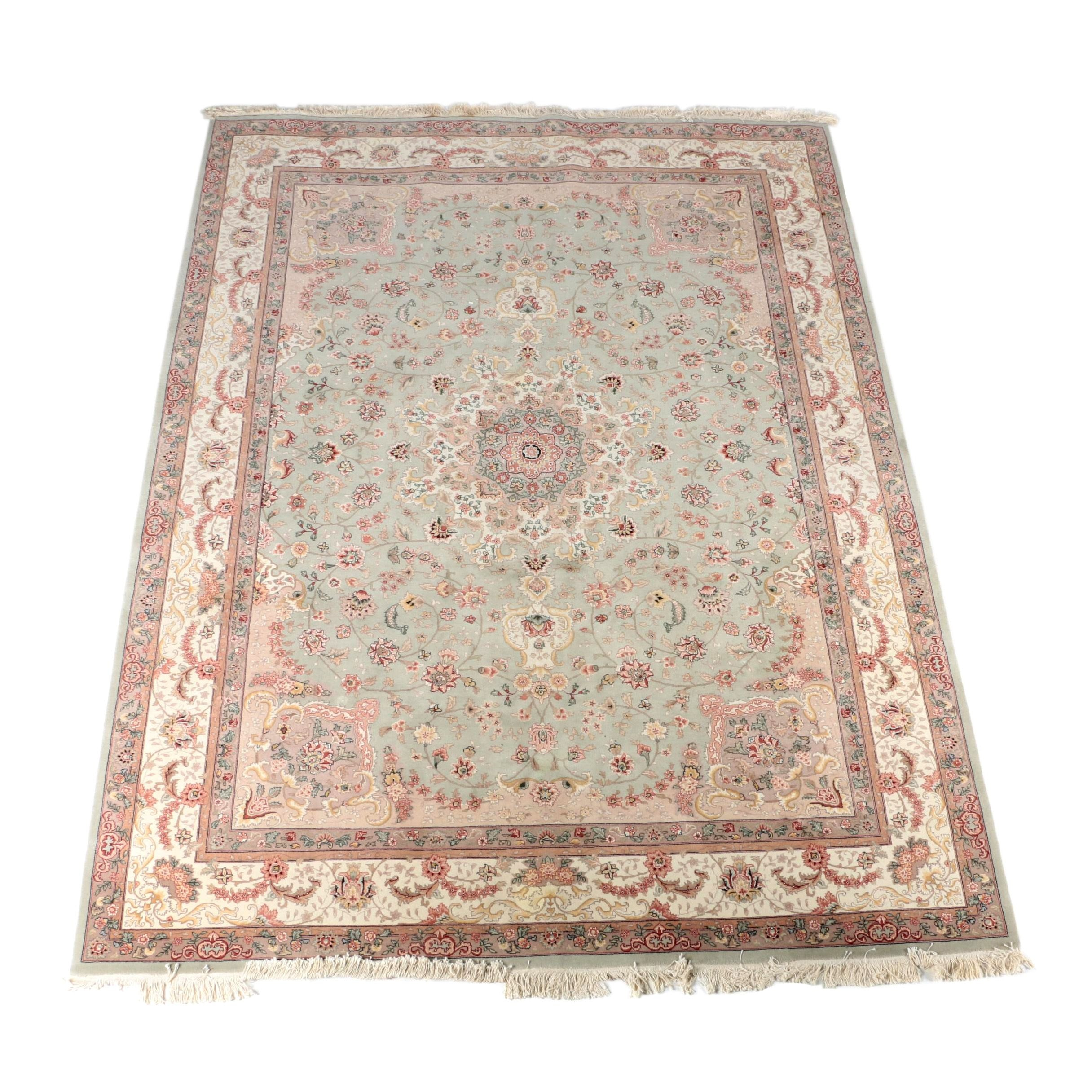 Hand-Knotted Sino-Persian Silk and Wool Area Rug