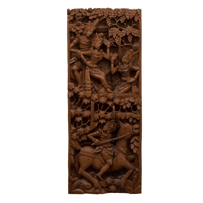 Southeast Asian Carved Wood Wall Panel