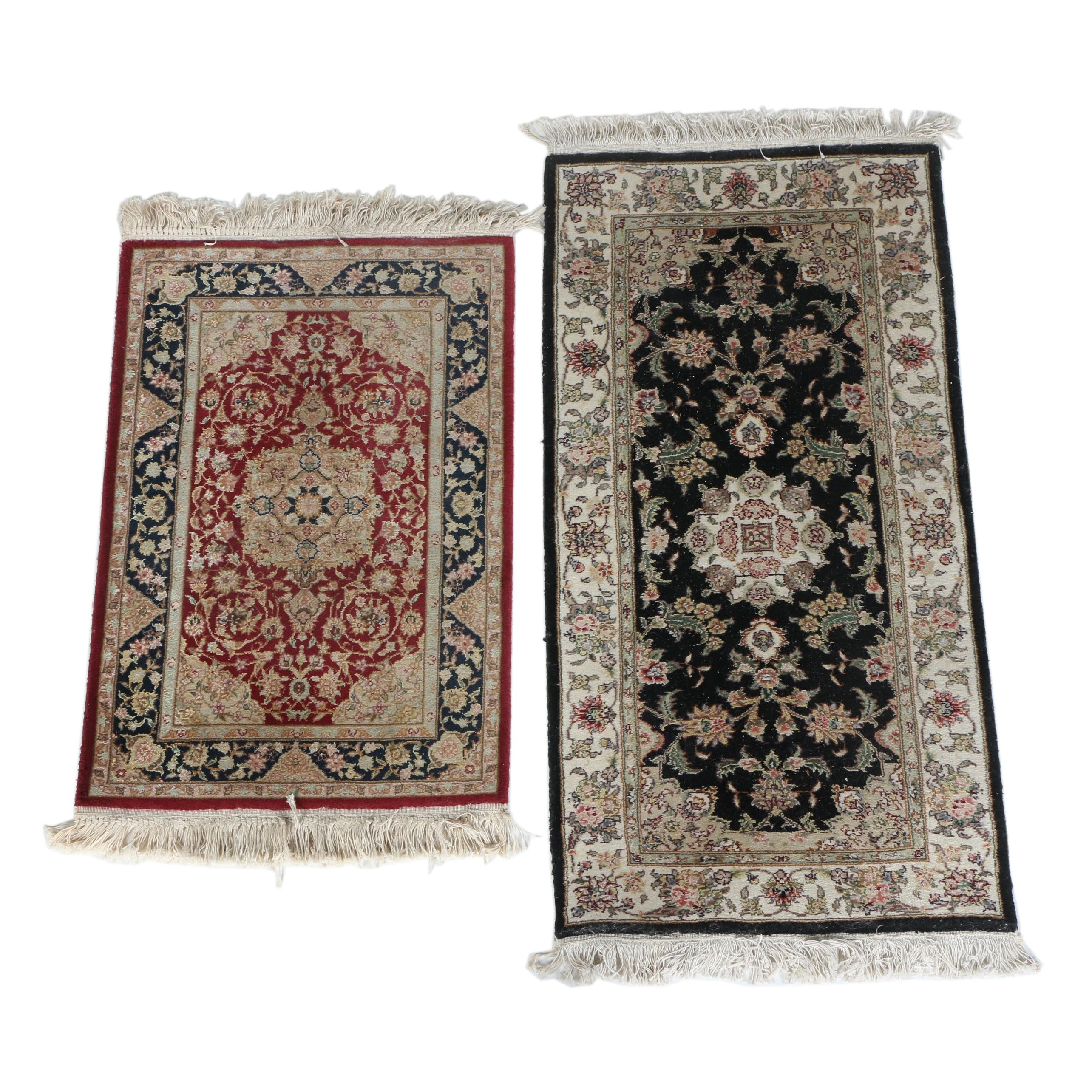 Hand-Knotted Sino-Persian Wool and Silk Accent Rugs