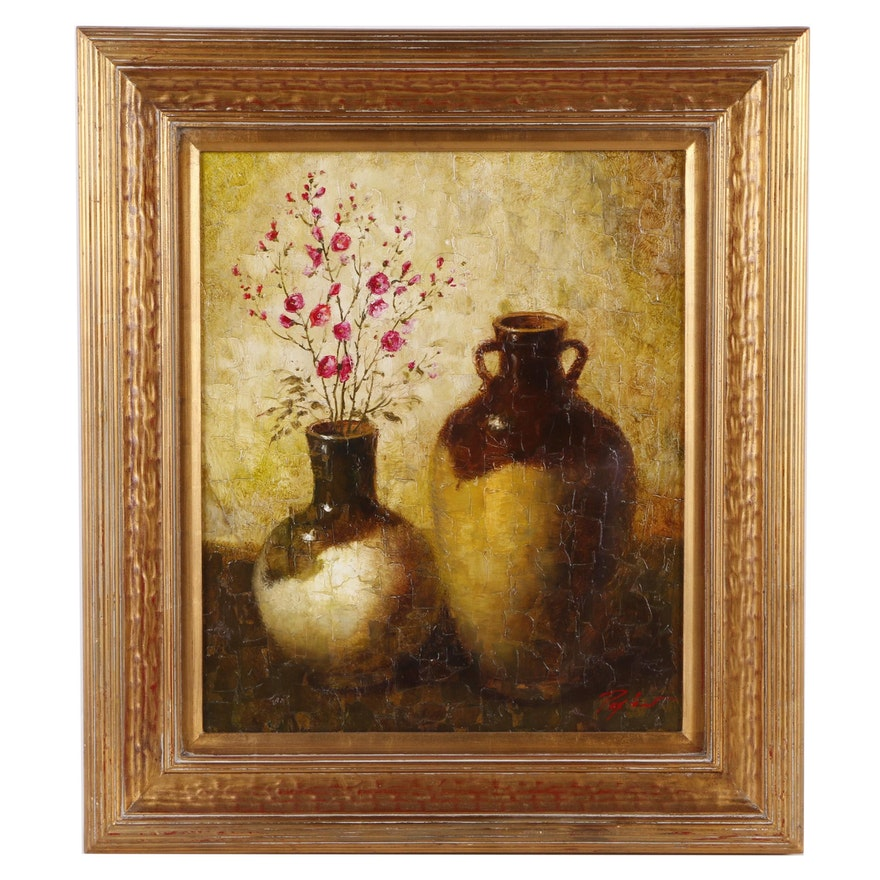 Paxton Oil On Canvas Still Life Painting Of Vases And Flowers Ebth