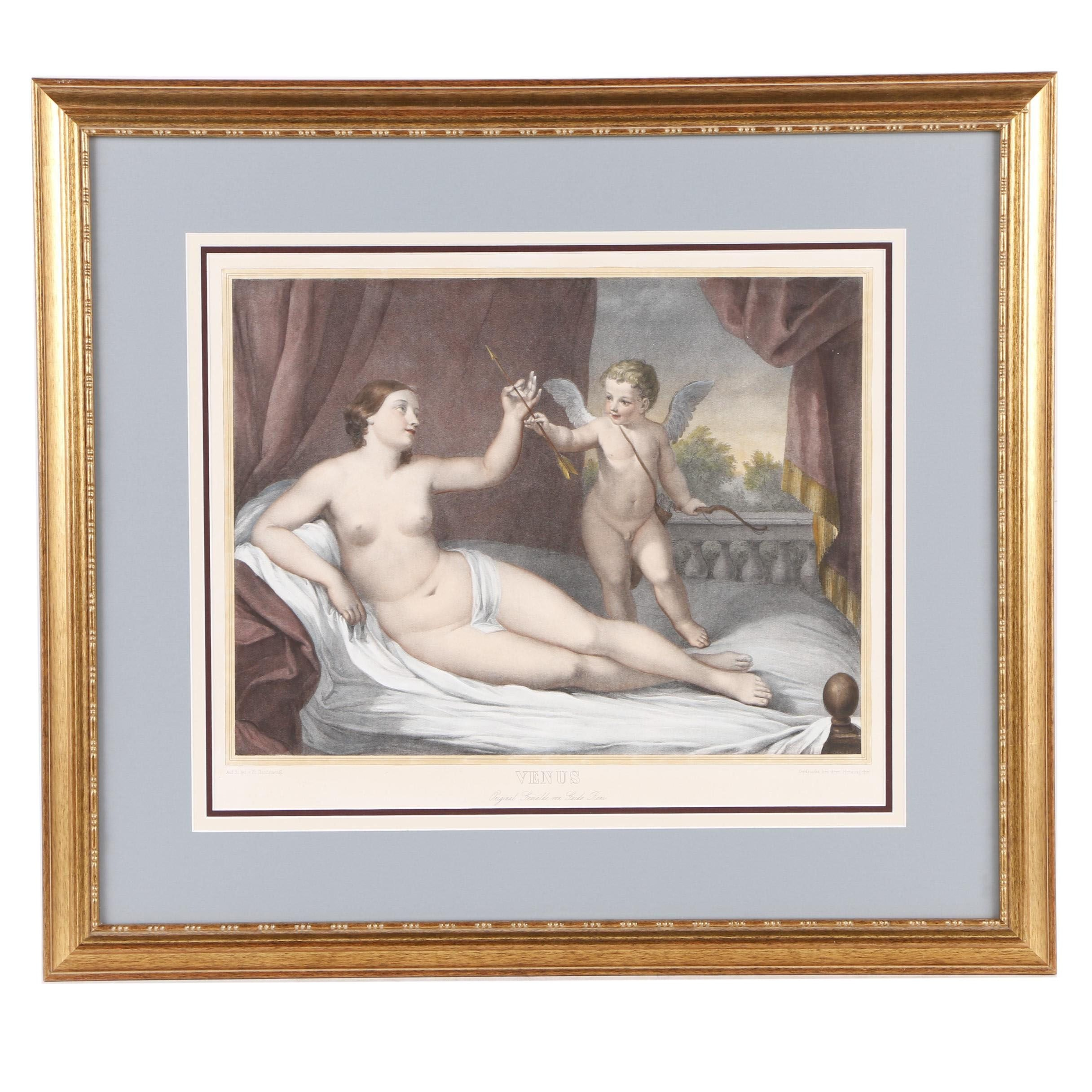 "Color Lithograph After Guido Reni's ""Reclining Venus with Cupid"""