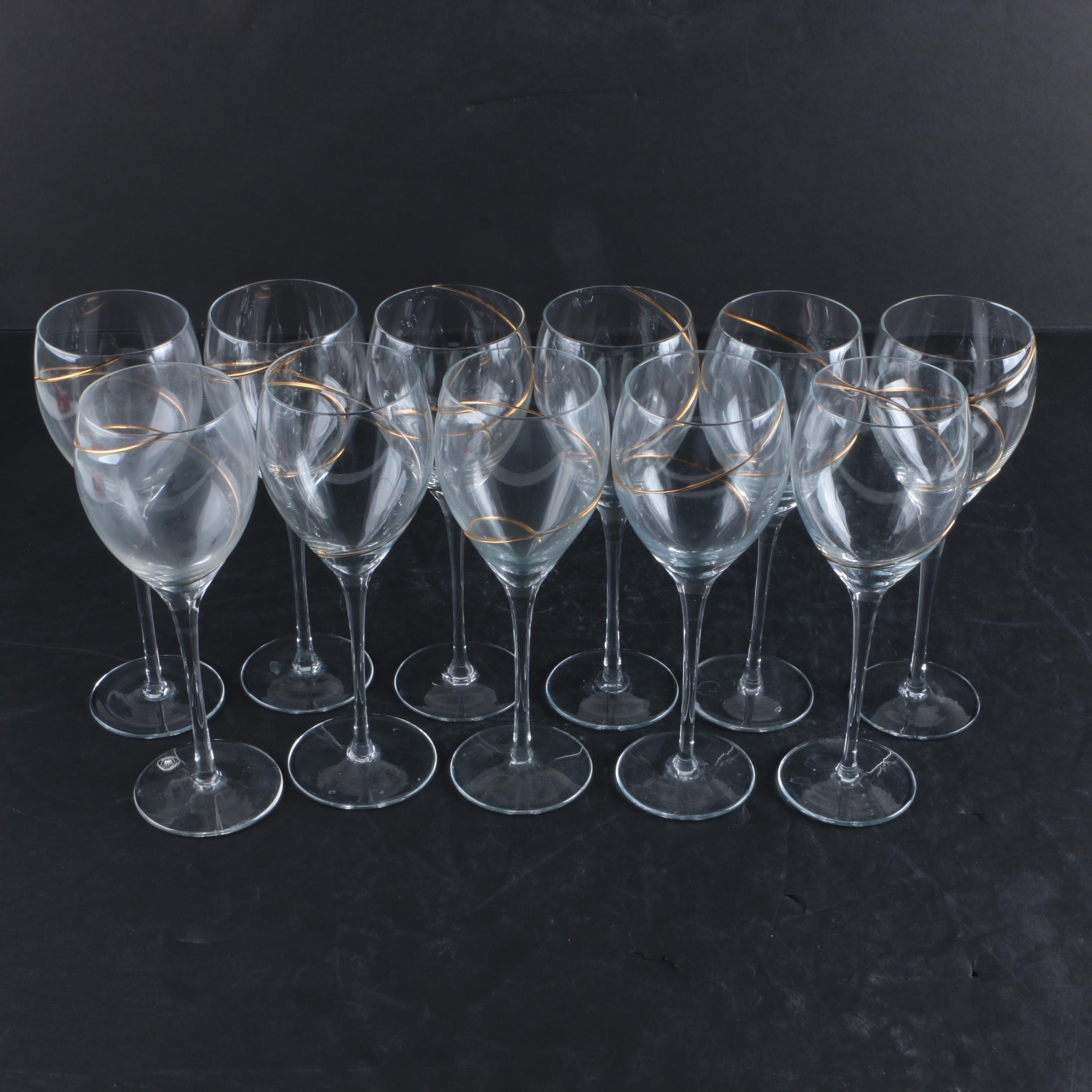 Romanian Gilt Swirl White Wine Glasses