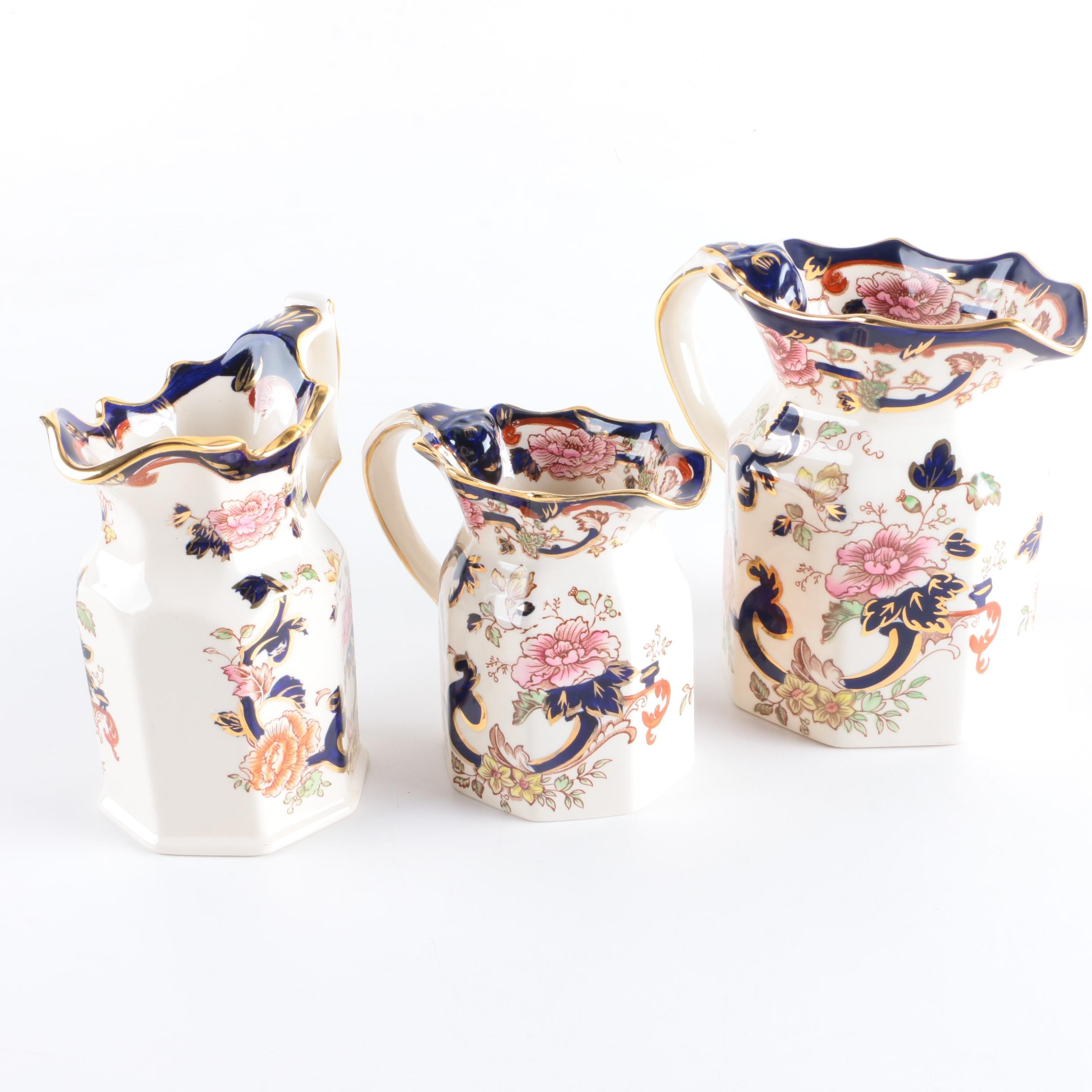 "Masons ""Mandalay"" Hand-Decorated Ironstone Pitchers"