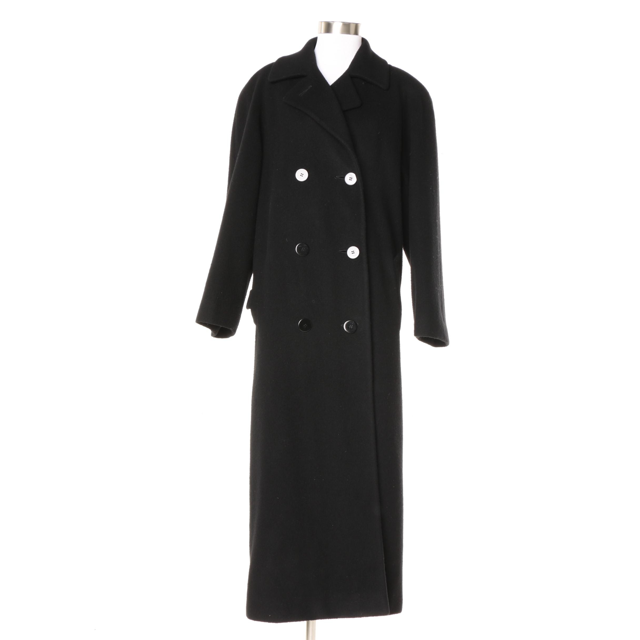 Vintage Neiman Marcus Double-Breasted Black Cashmere Coat