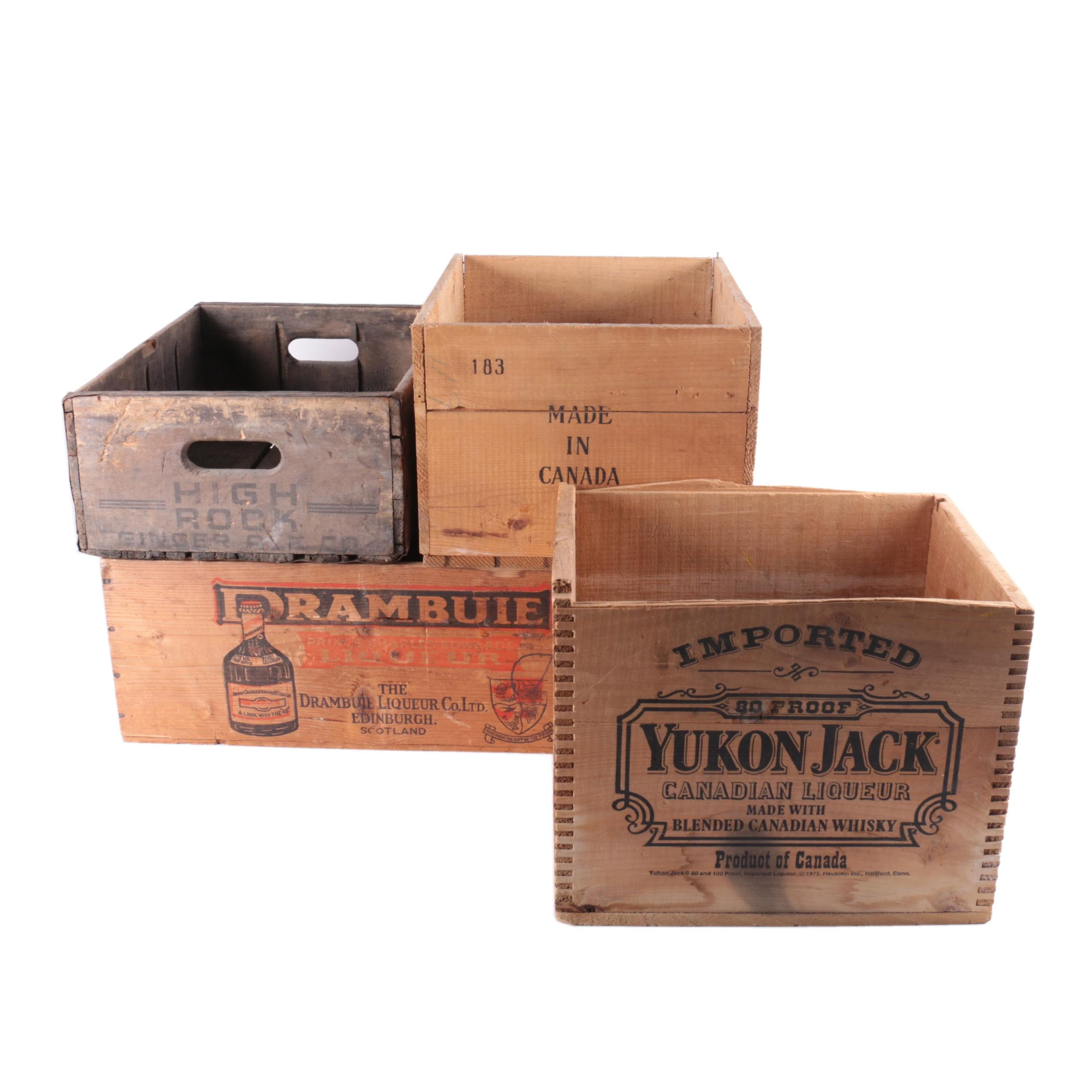 Vintage Yukon Jack, Drambuie and Other Wooden Crates