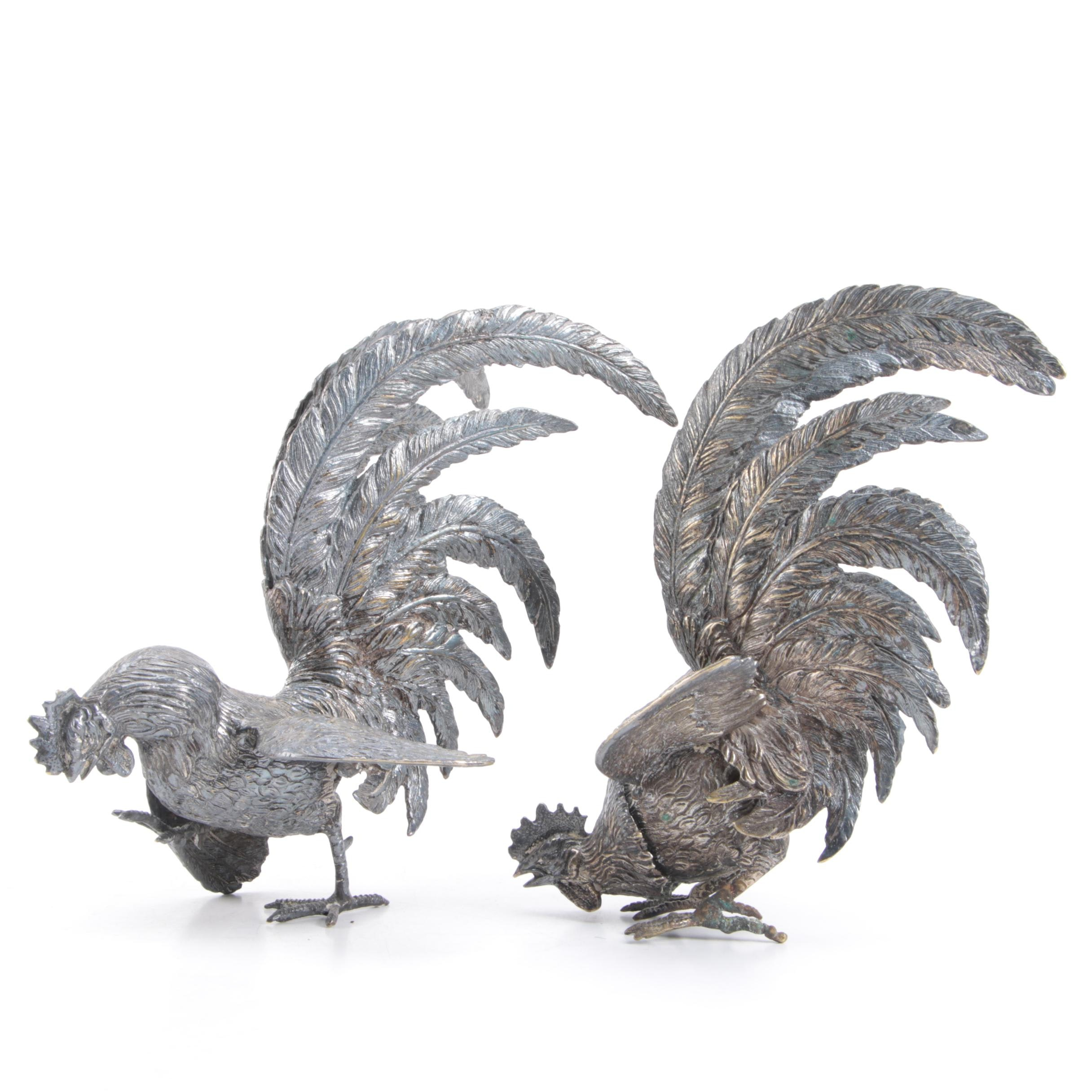 Metal Fighting Rooster Figurines