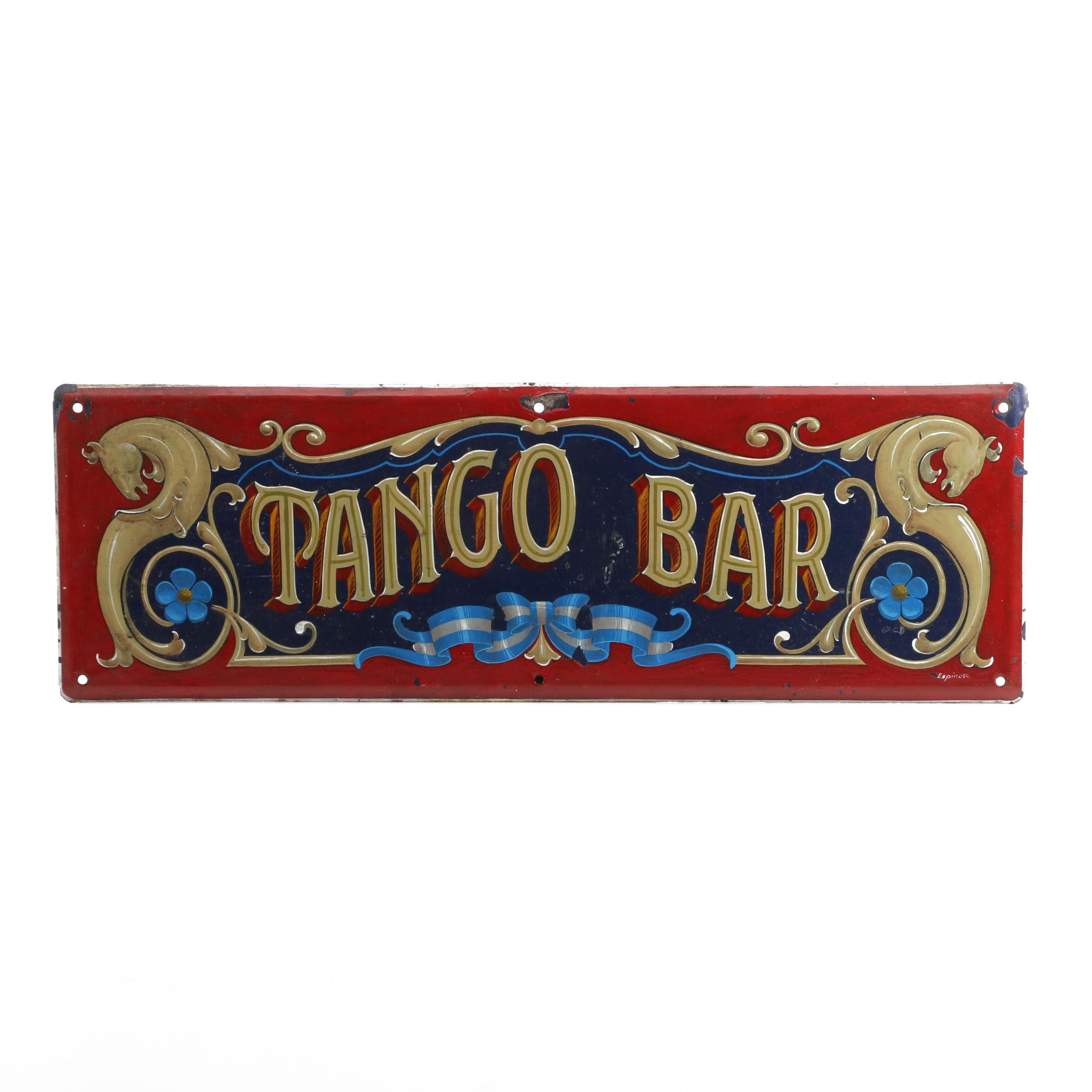 Tango Bar Hand Painted Porcelain Sign