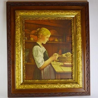 "Albert Anker's Color Lithograph ""Girl Peeling Potatoes"""