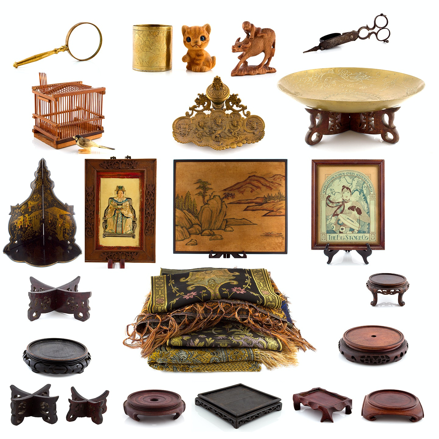 Asian Inspired Art, Textiles and Display Pieces