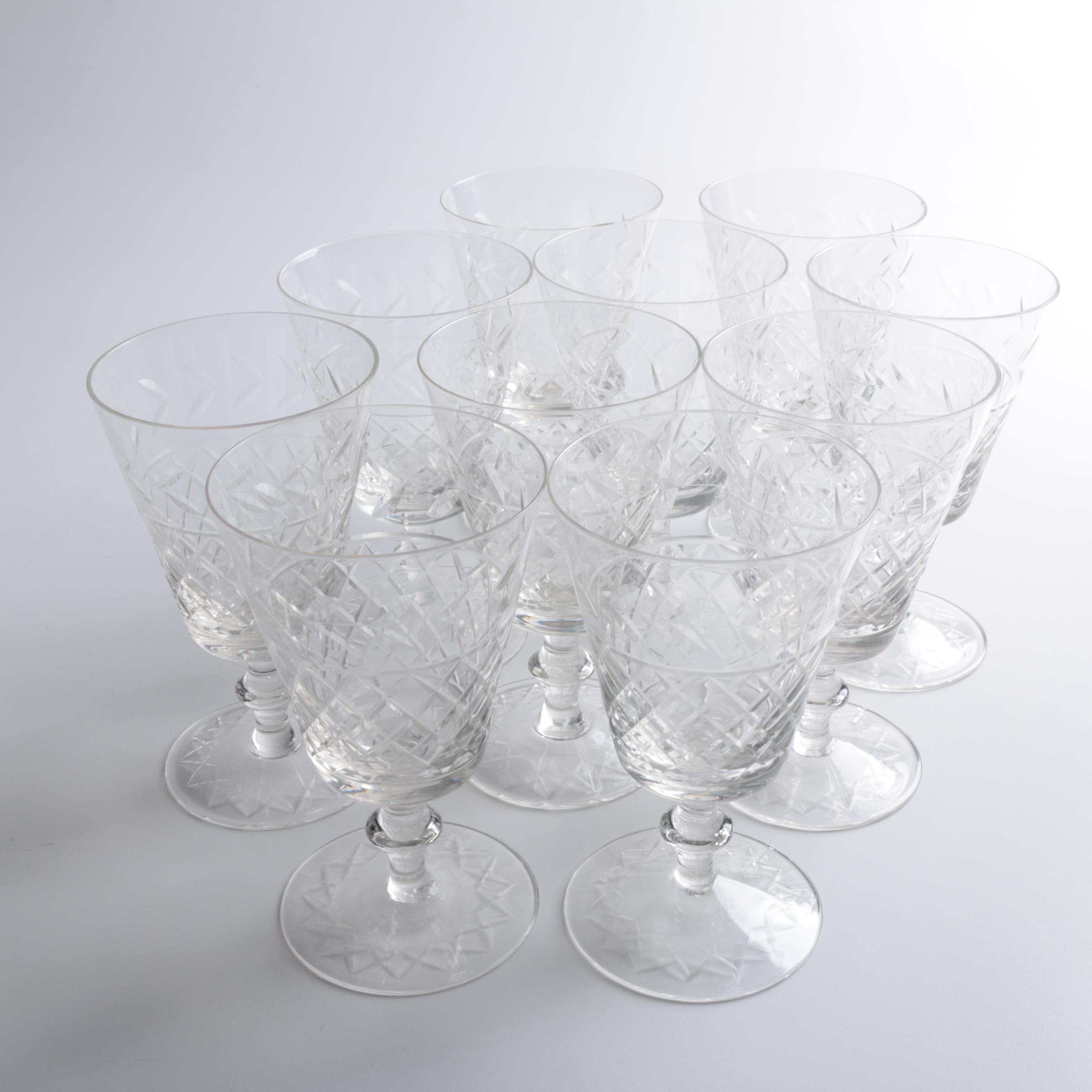 Set of Cut Glass Water Goblets