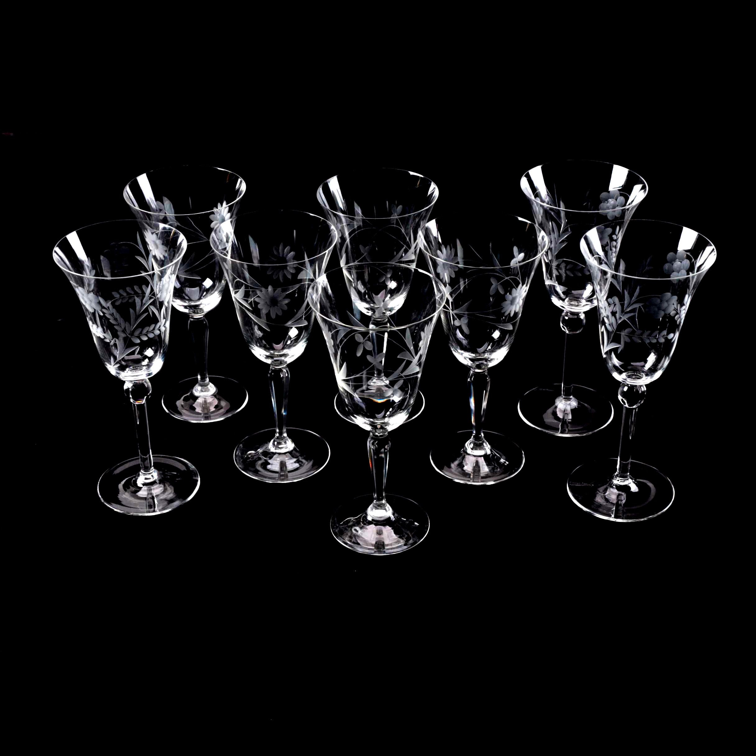 Cocktail Glasses with Cut Floral Motif