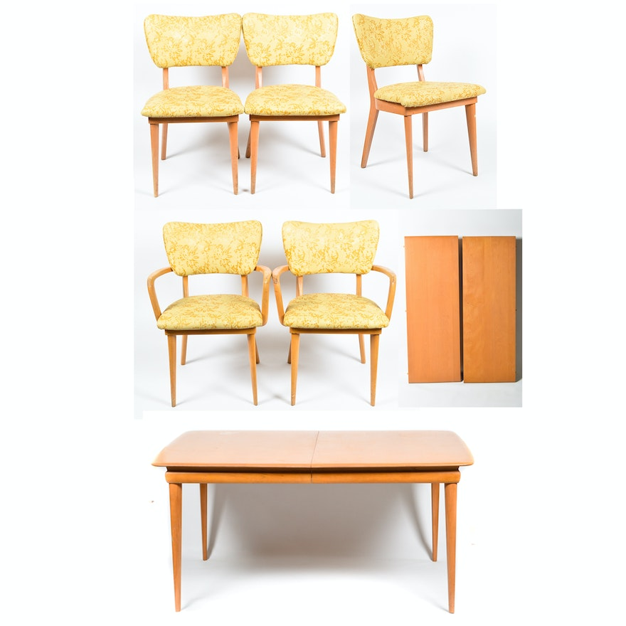 Mid Century Modern Heywood-Wakefield Dining Table and Five Chairs : EBTH