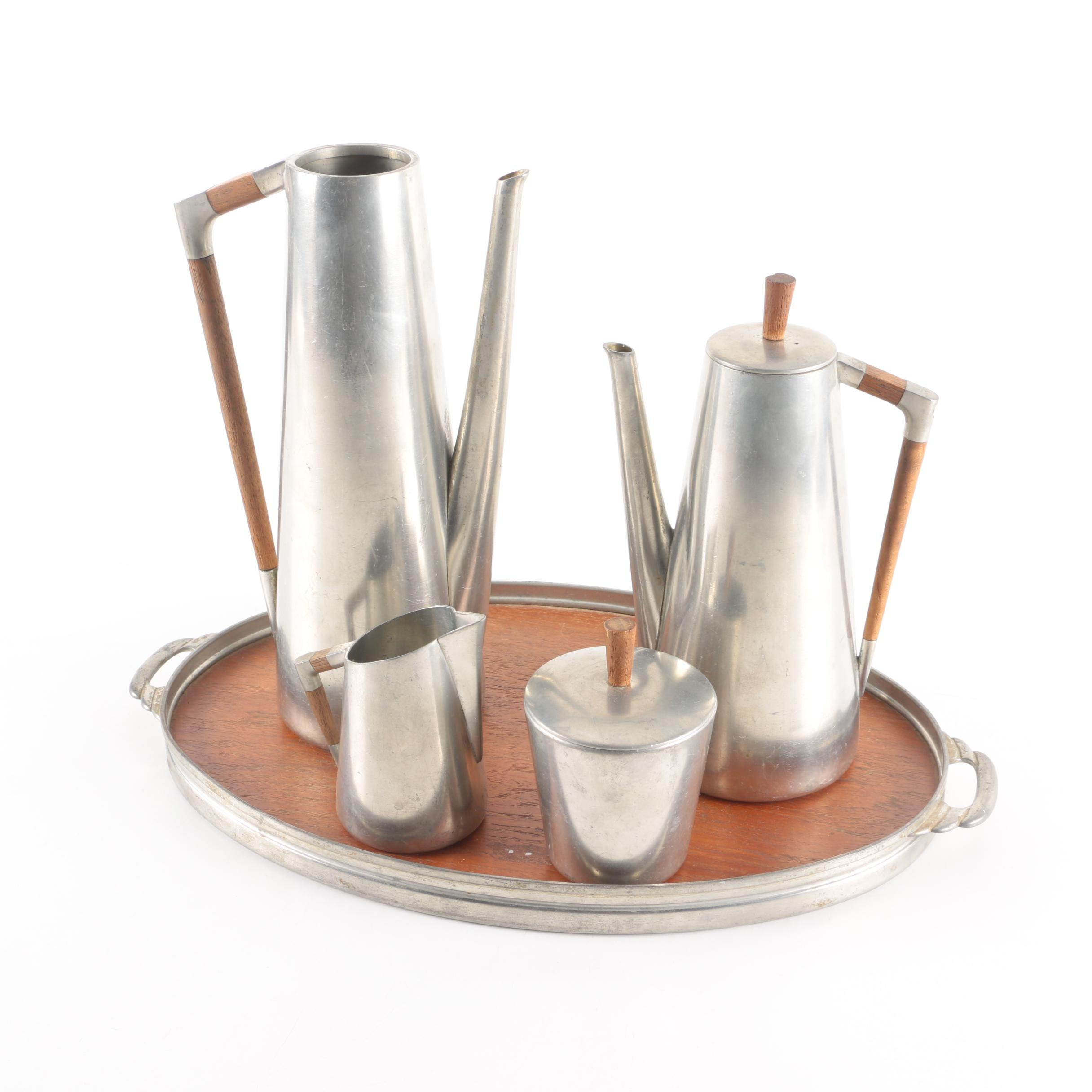 Mid Century Modern Royal Holland Pewter Tea and Coffee Service