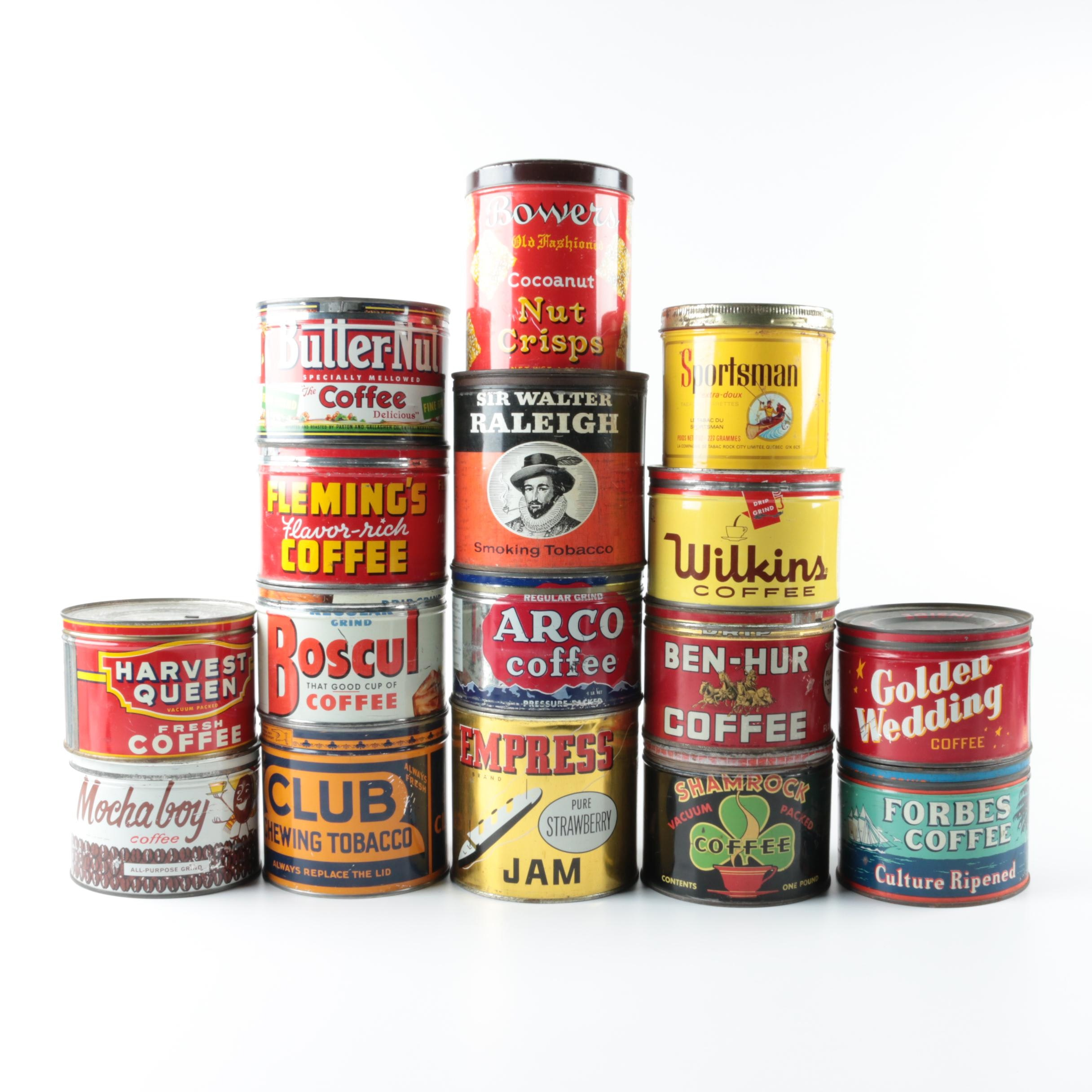 Vintage Coffee, Tobacco and Food Tins