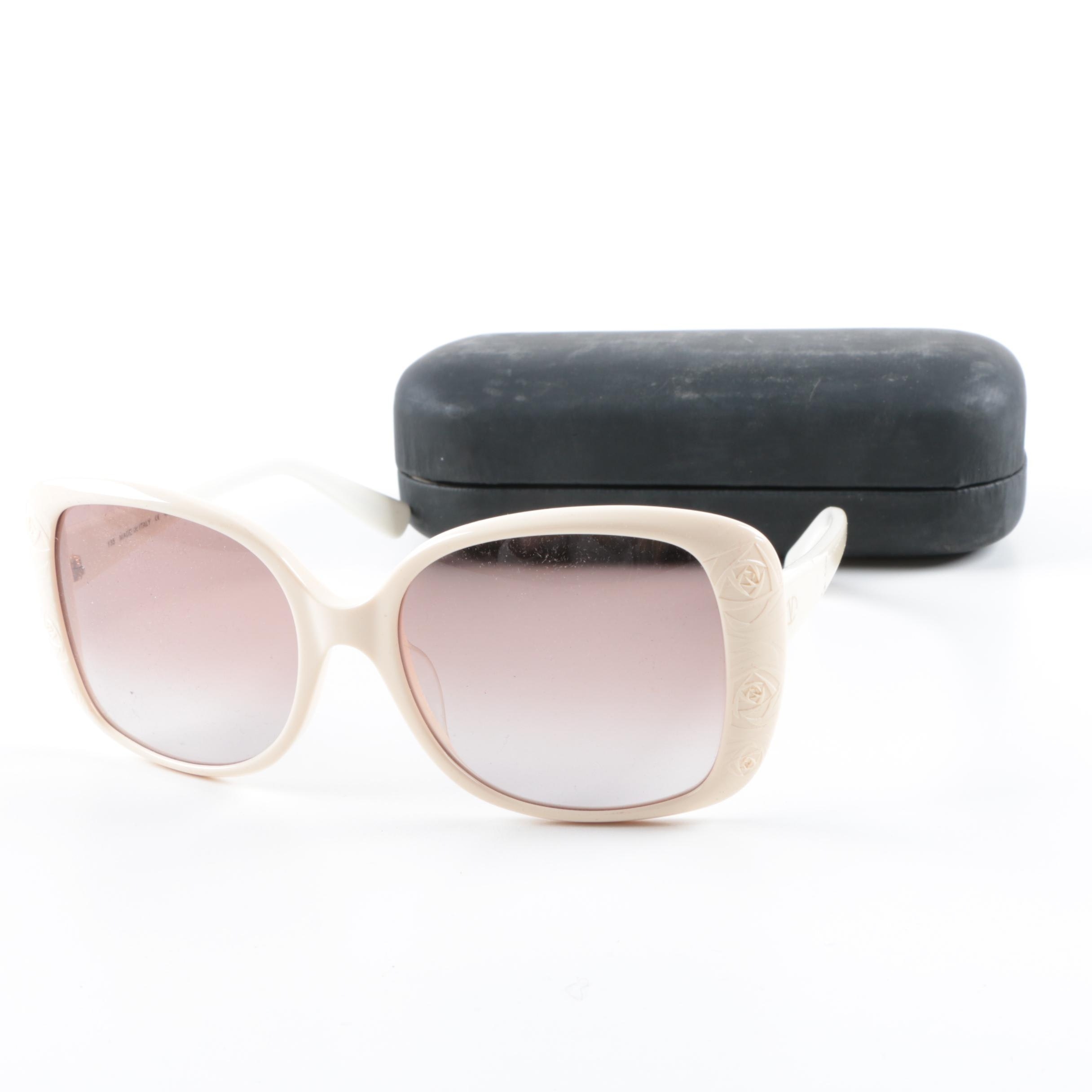Valentino Off-White Square Sunglasses