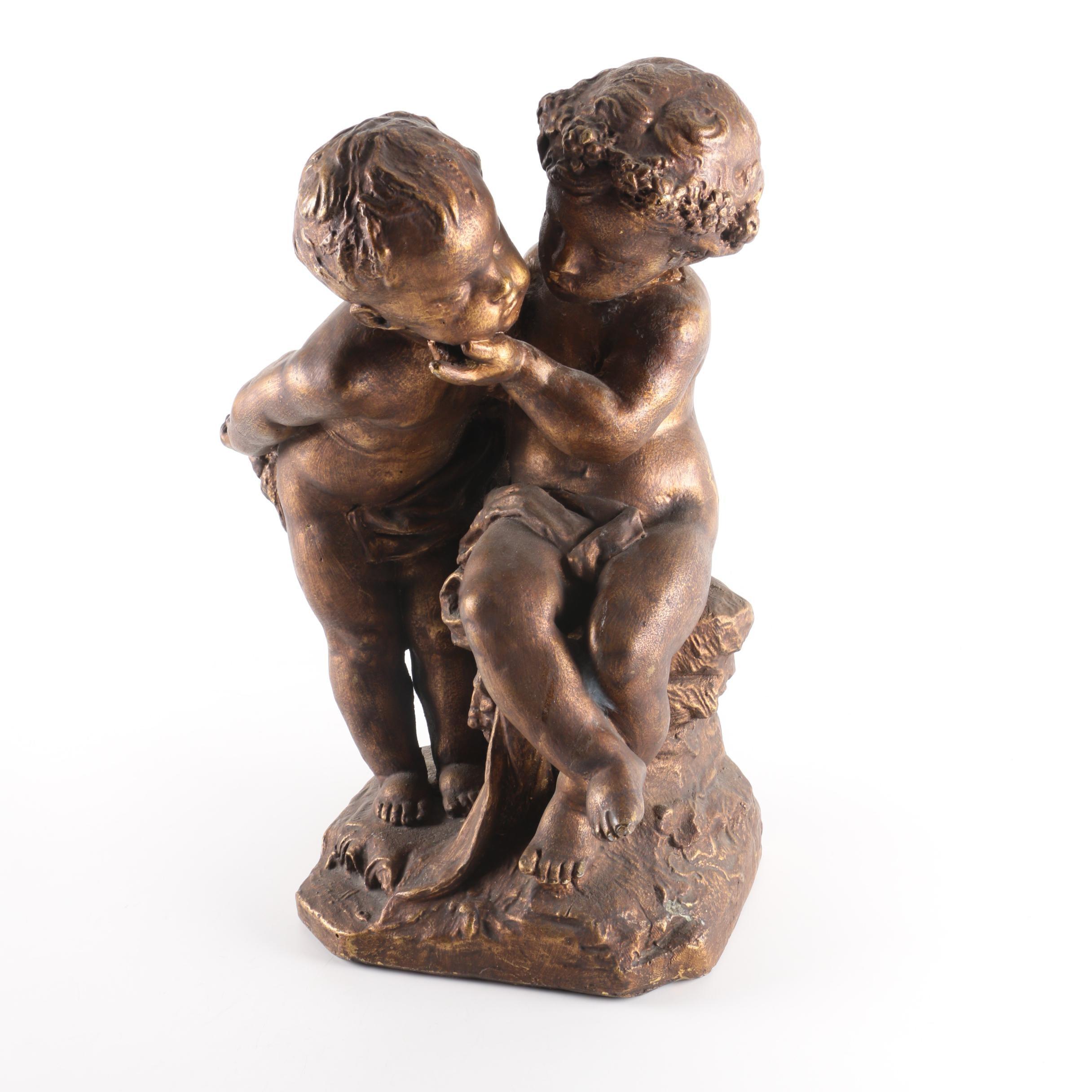 Mid Century Cherub Statue in Bronze Toned Finish